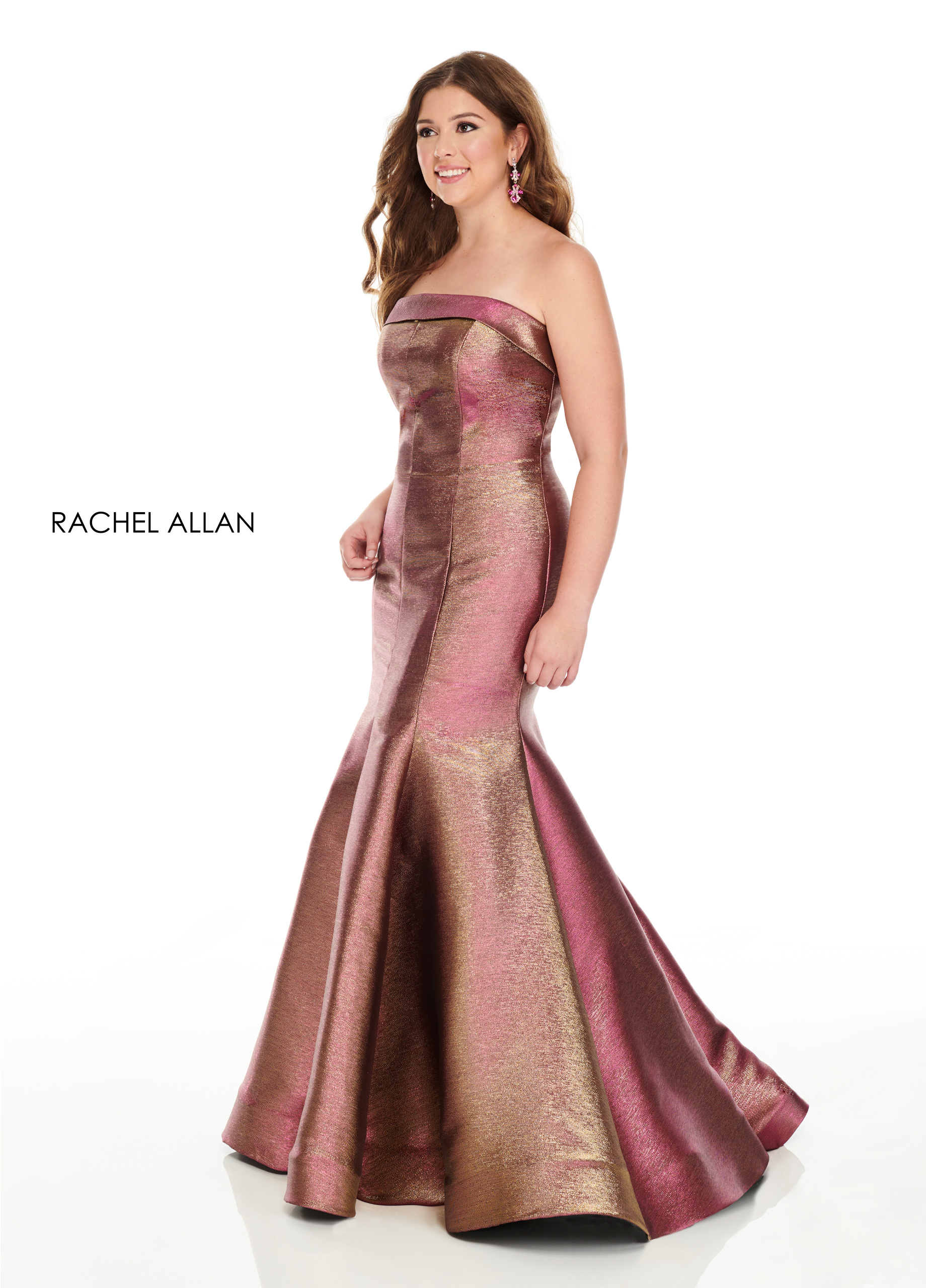 Strapless Mermaid Plus Size Dresses in Magenta Color