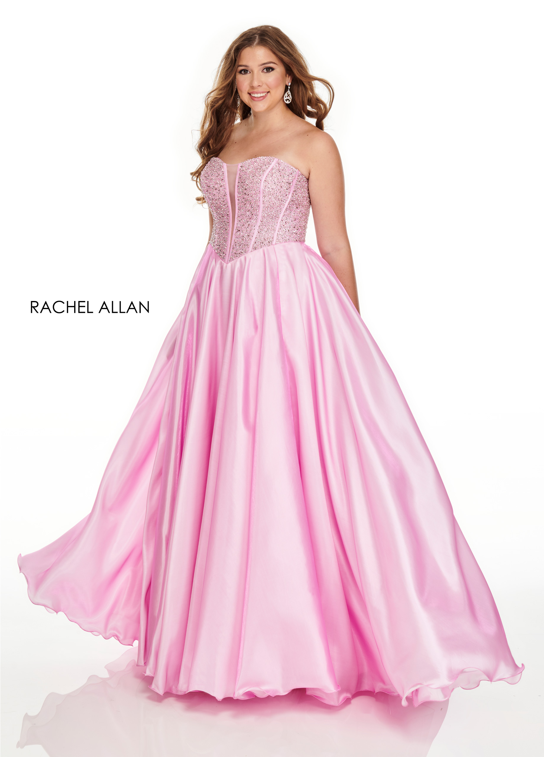 Strapless Ball Gowns Plus Size Dresses in Blush Color