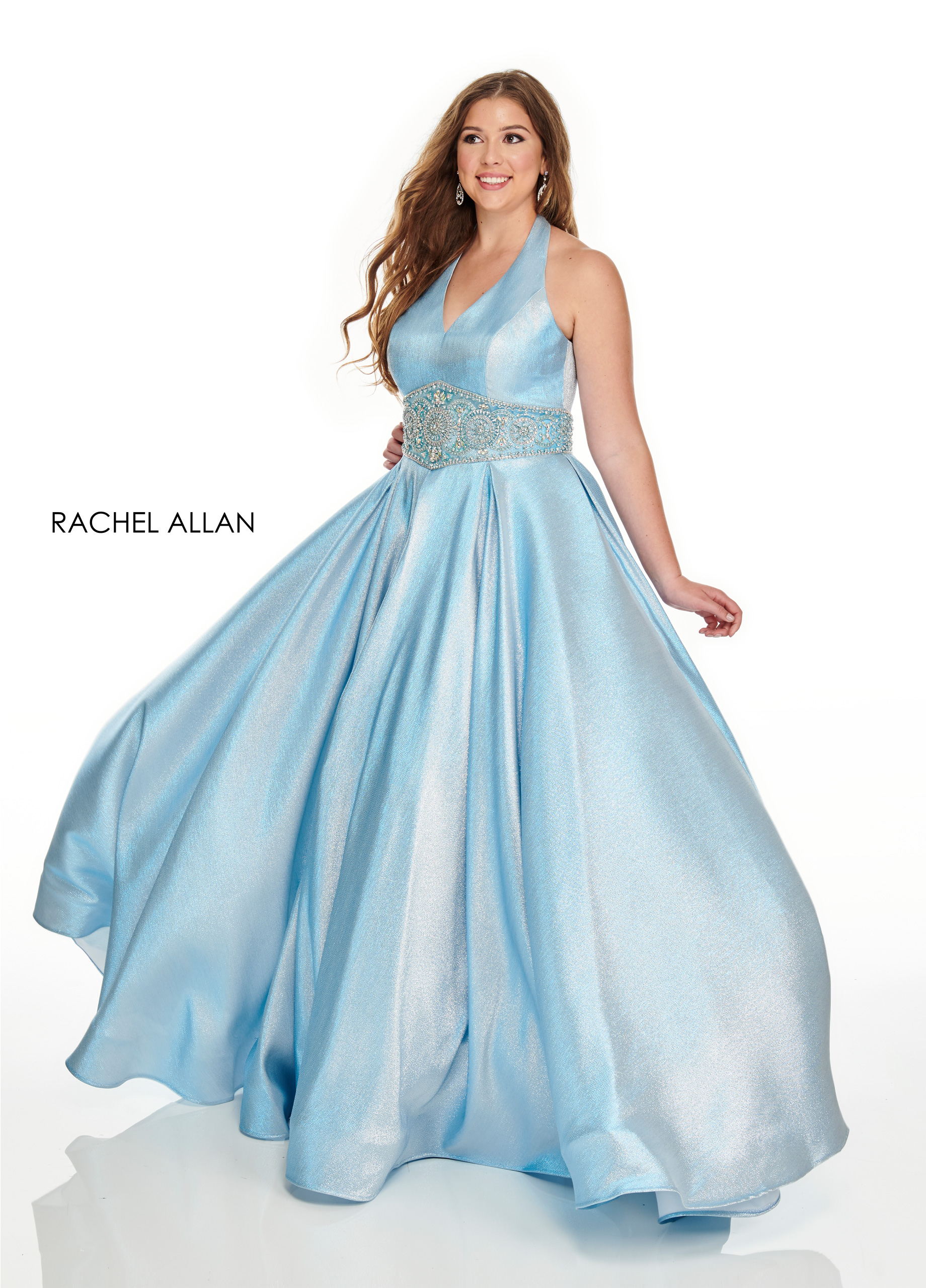 Halter Ball Gowns Plus Size Dresses in Blue Color