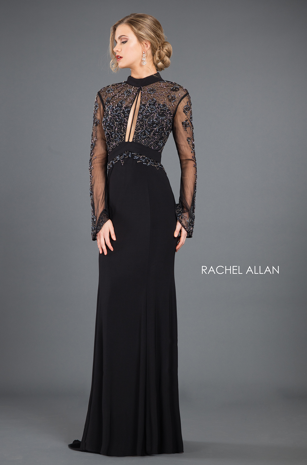 High Neckline Fitted Mini Couture Dresses in Black Color