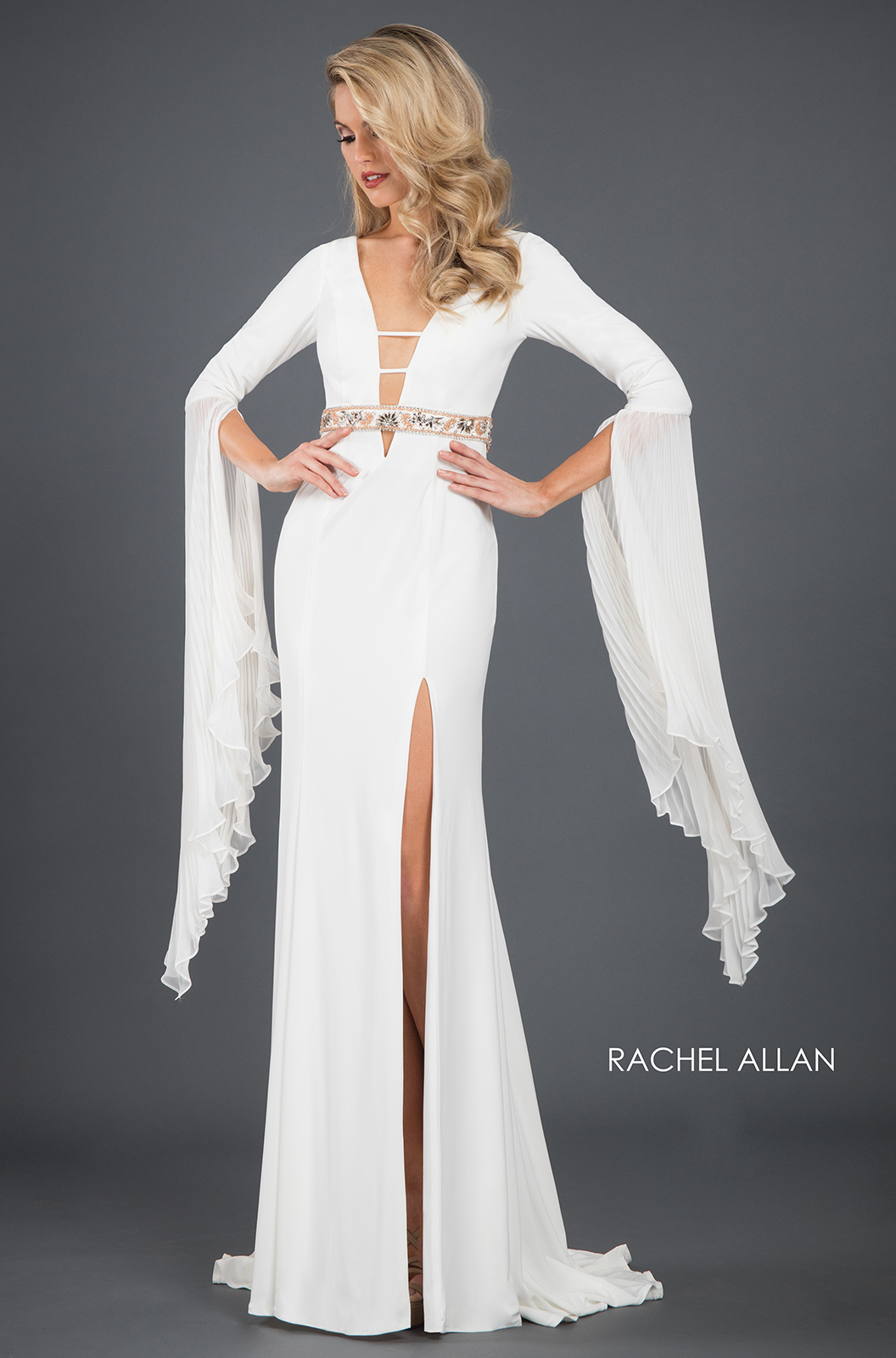 V-Neck Fitted Long Couture Dresses in White Color