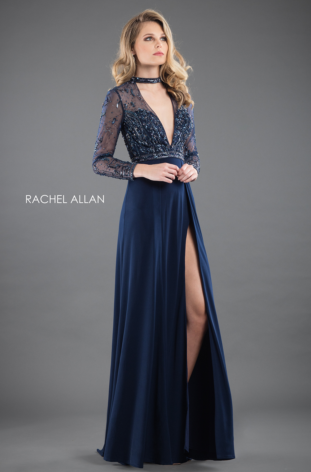 V-Neck Fitted Long Couture Dresses in Navy Color