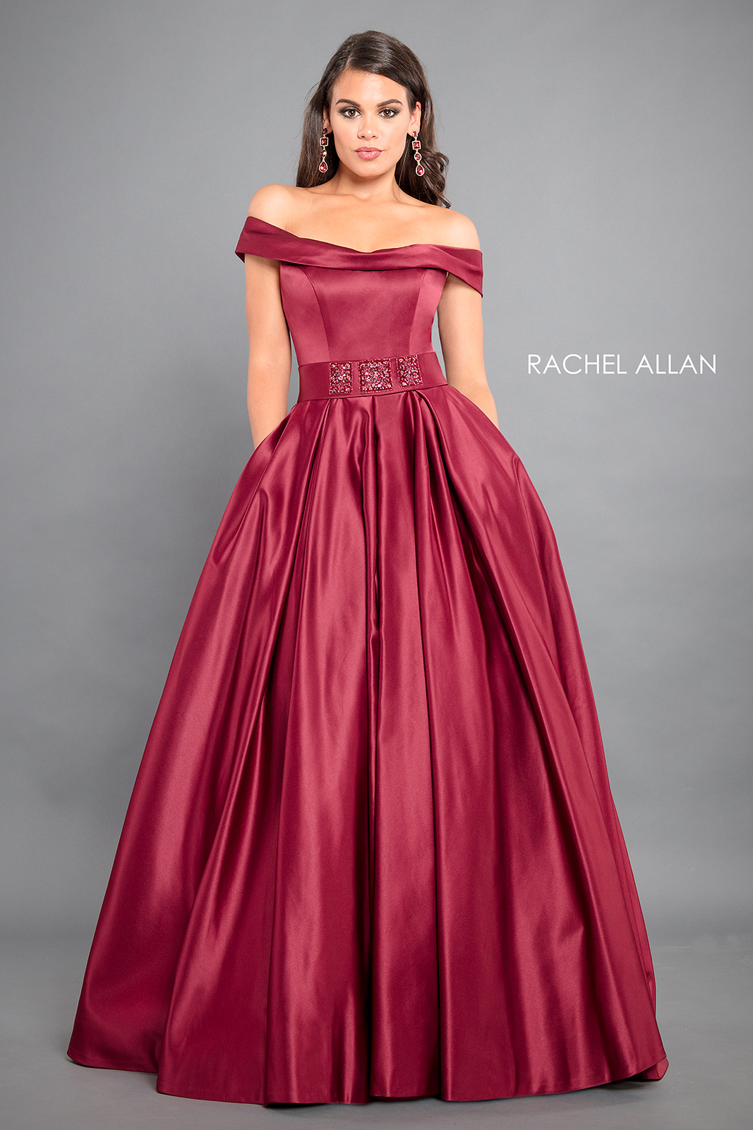 Off The Shoulder A-Line Couture Dresses in Red Color