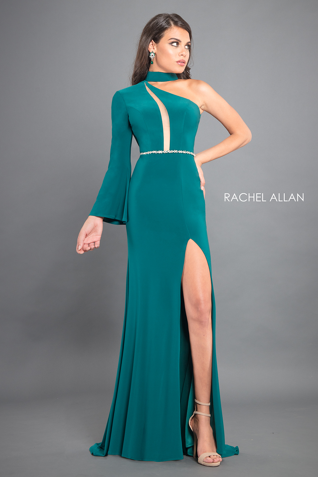 One Shoulder Fitted Long Couture Dresses in Green Color