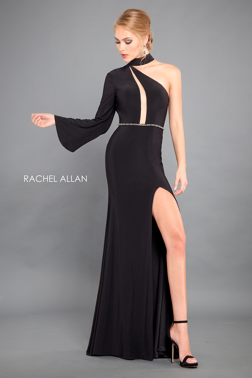 One Shoulder Fitted Long Couture Dresses in Black Color
