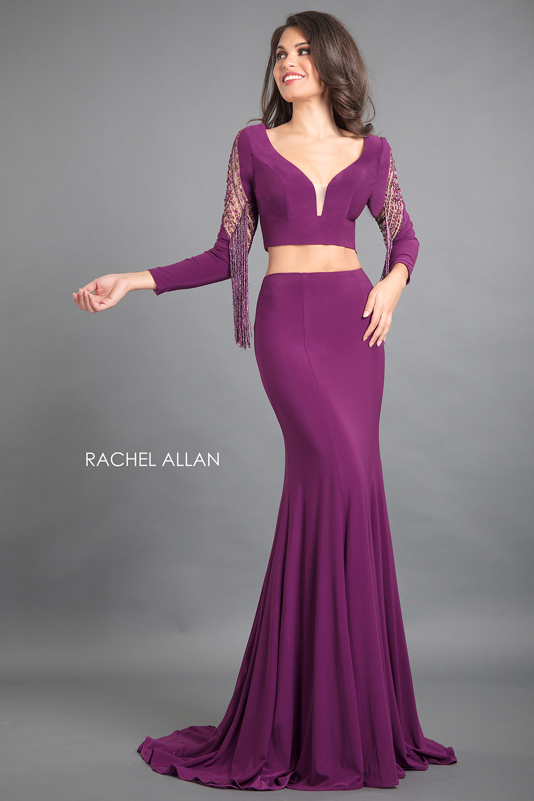 Scoop Neck Fitted Long Couture Dresses in Purple Color