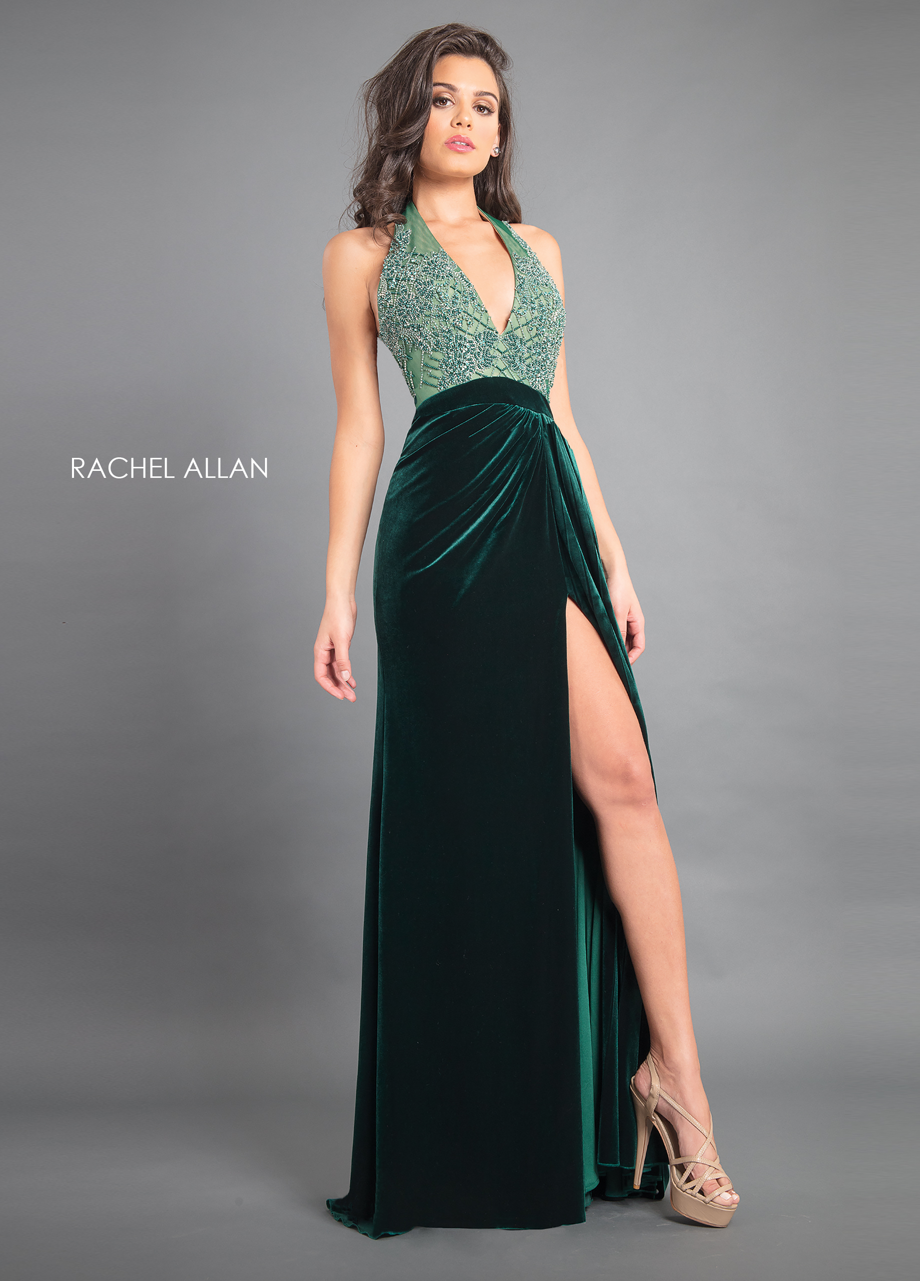 V-Neck A-Line Couture Dresses in Emerald Color