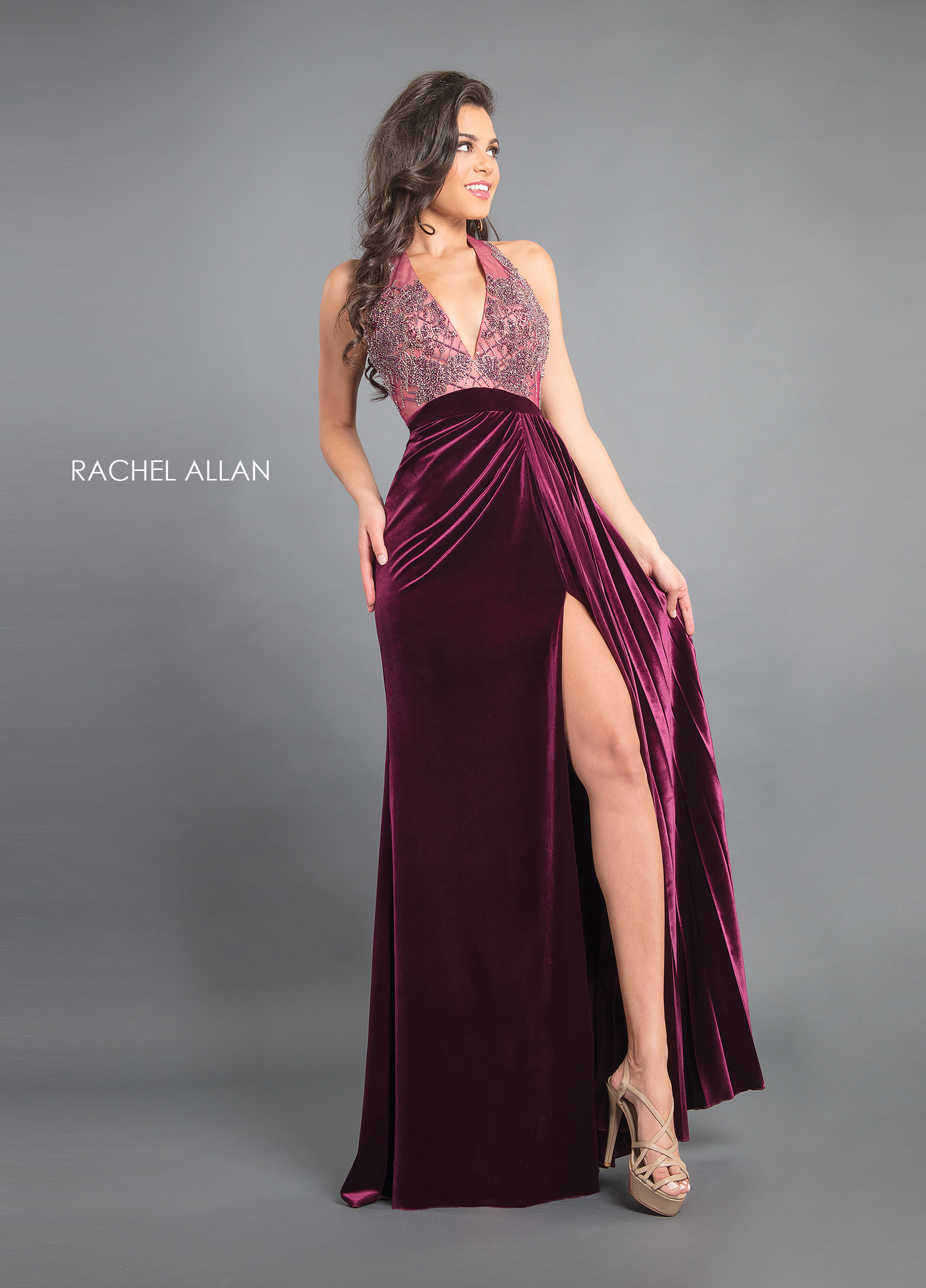 V-Neck A-Line Couture Dresses in Purple Color