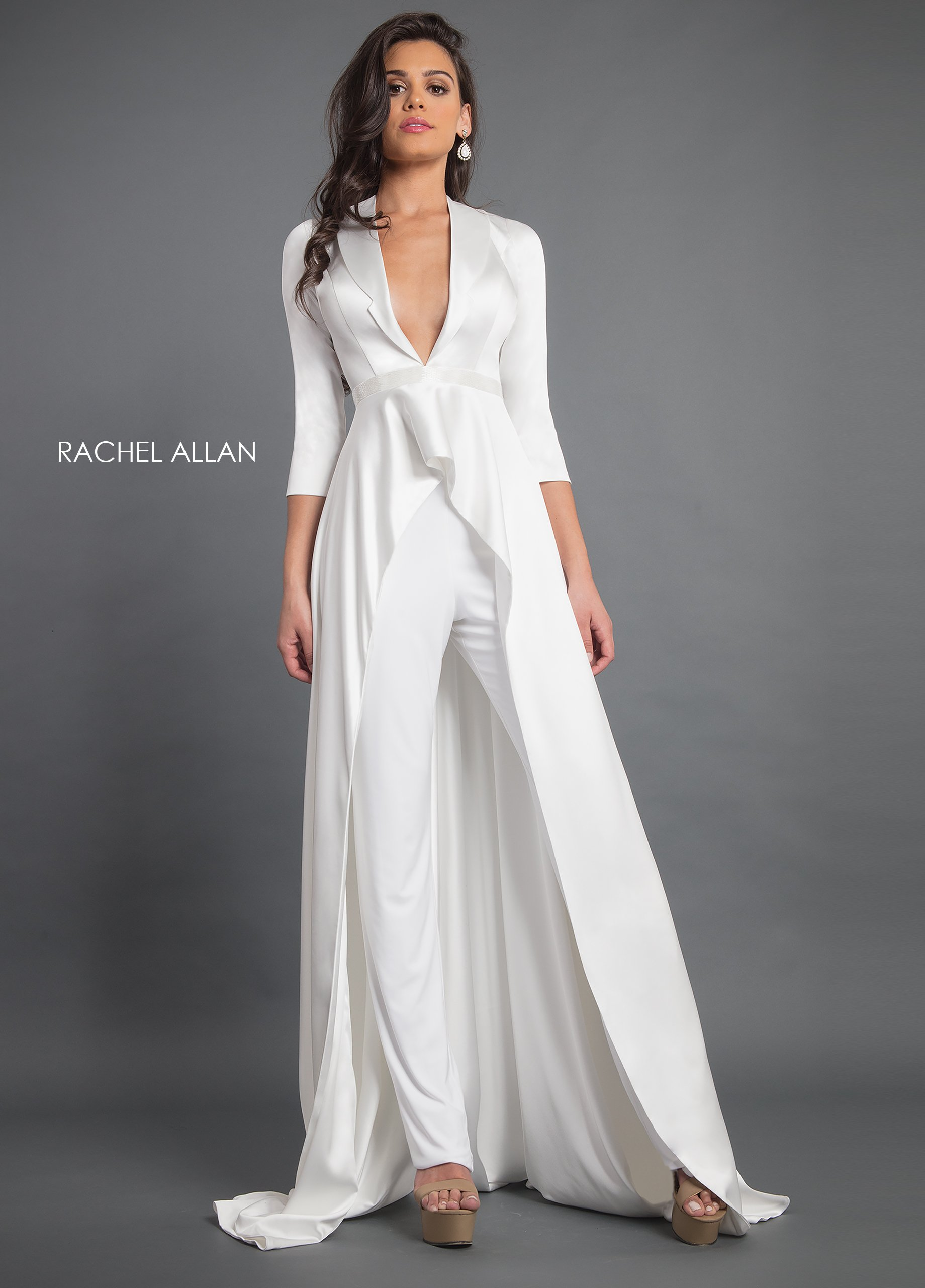 V-Neck Jumpsuit Couture Dresses in White Color