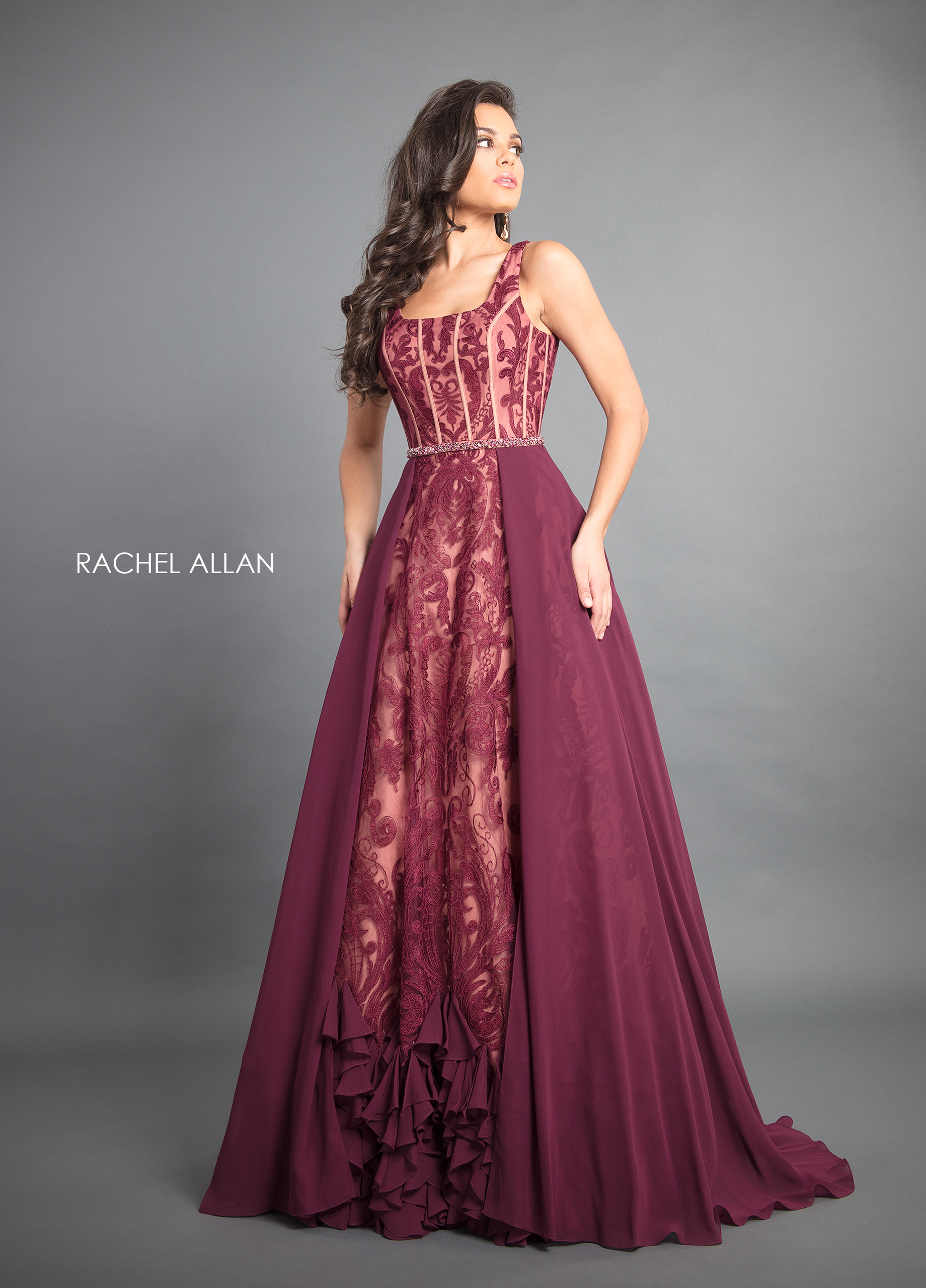 Scoop Neck Skirt With Overlay Couture Dresses in Purple Color