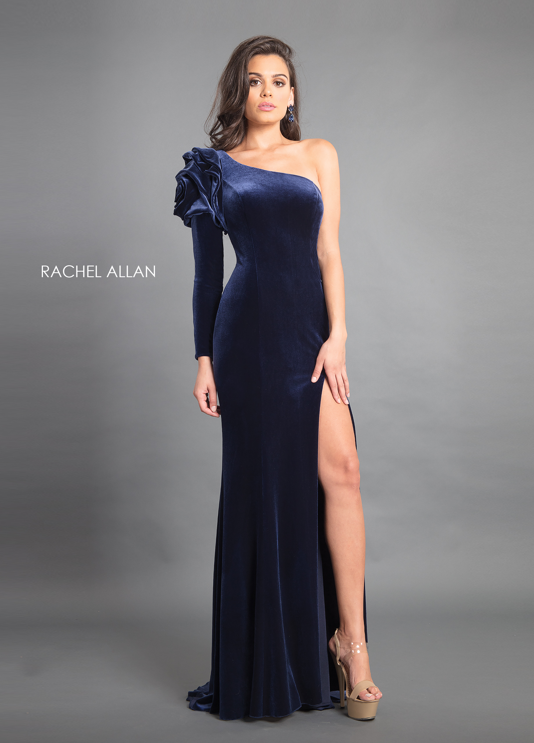 One Shoulder Fitted Long Couture Dresses in Navy Color