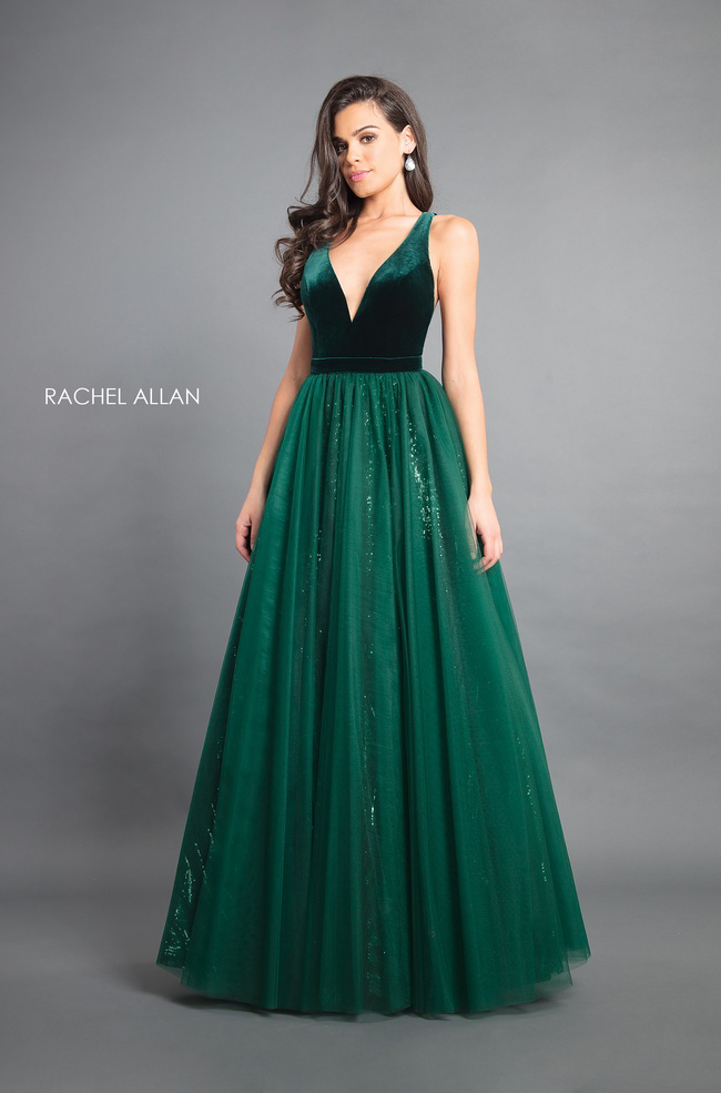 V-Neck Ball Gowns Couture Dresses in Emerald Color