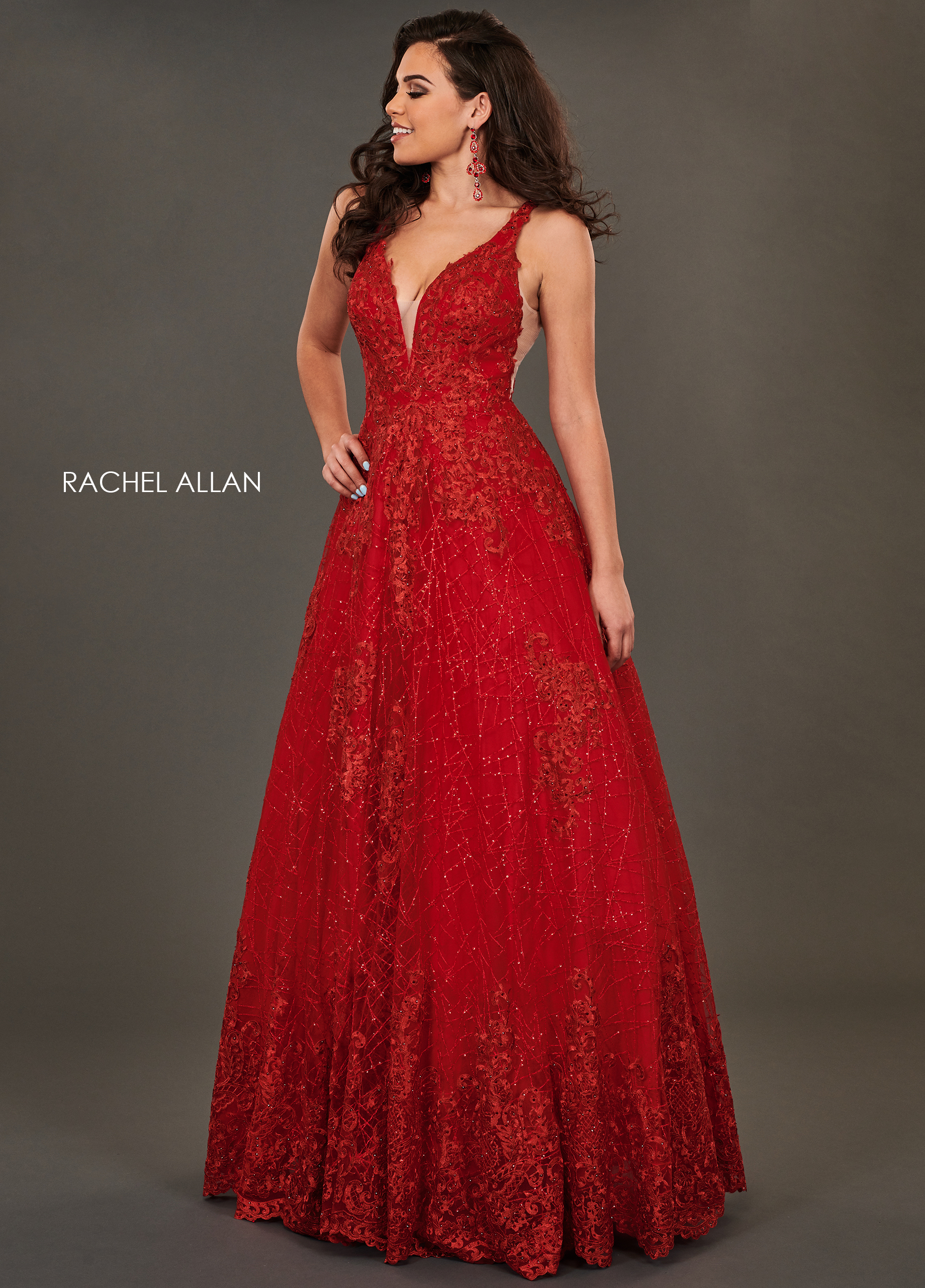 V-Neck A-Line Couture Dresses in Red Color