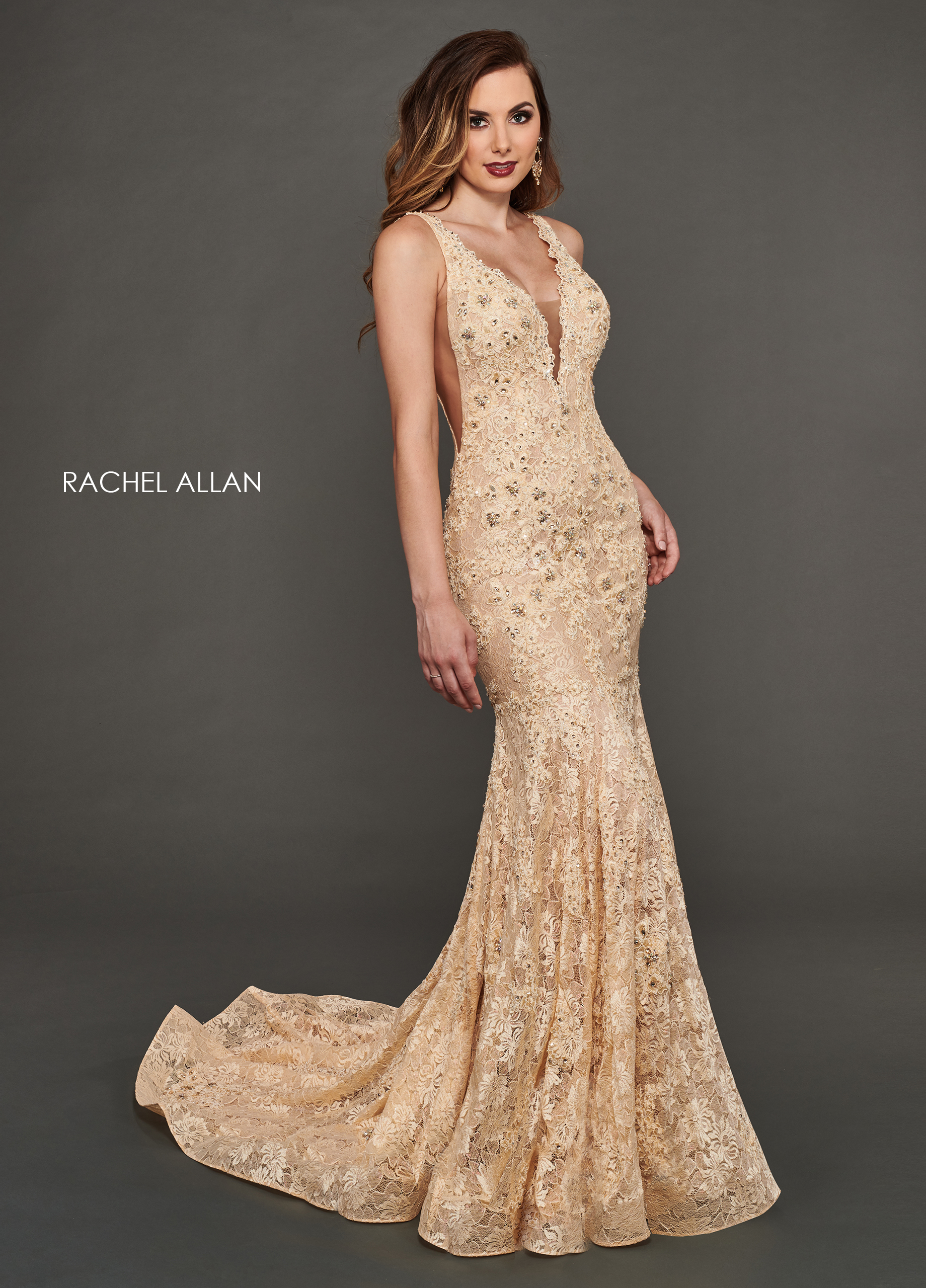 V-Neck Fit & Flare Couture Dresses in Champagne Color