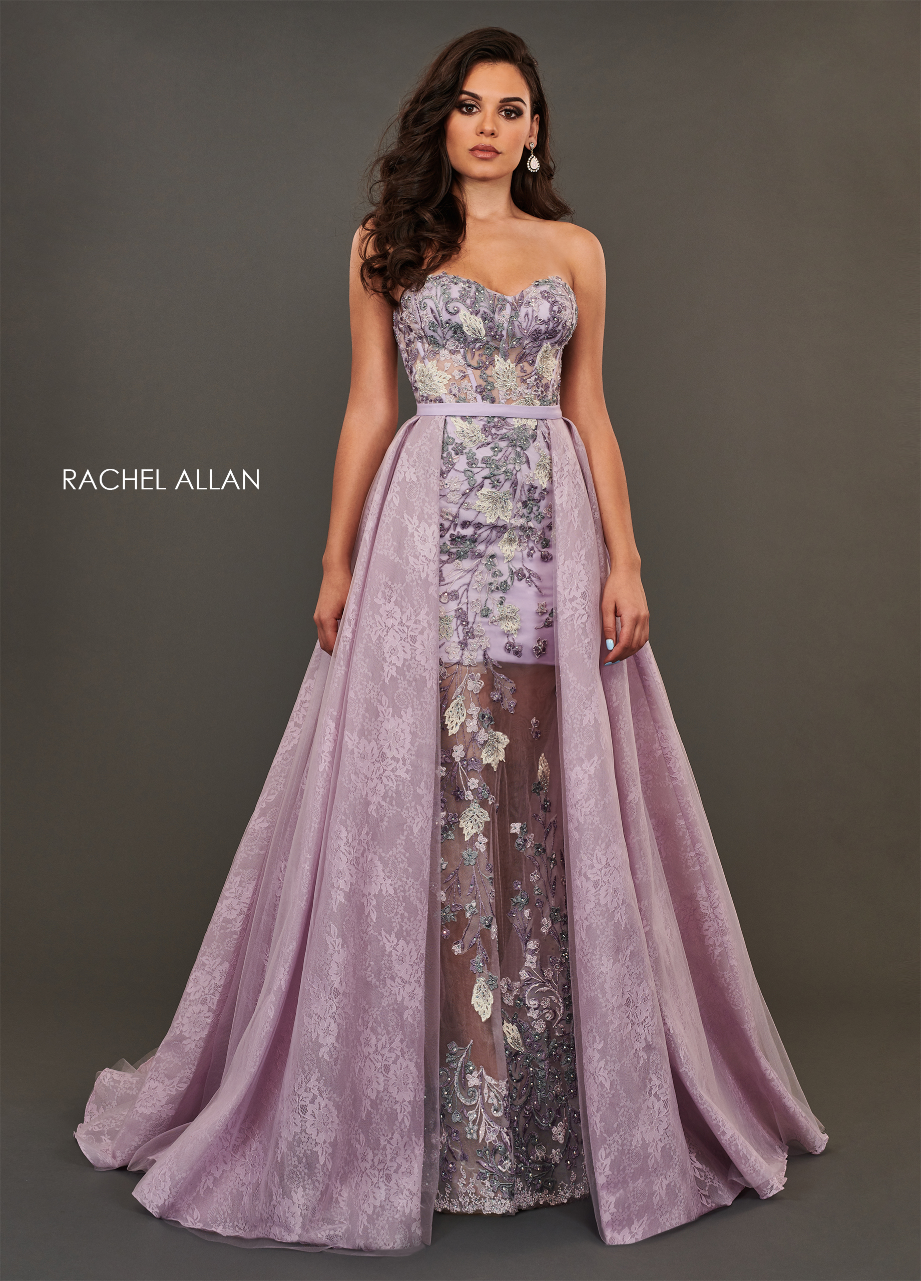 Sweetheart Skirt With Overlay Couture Dresses in Purple Color