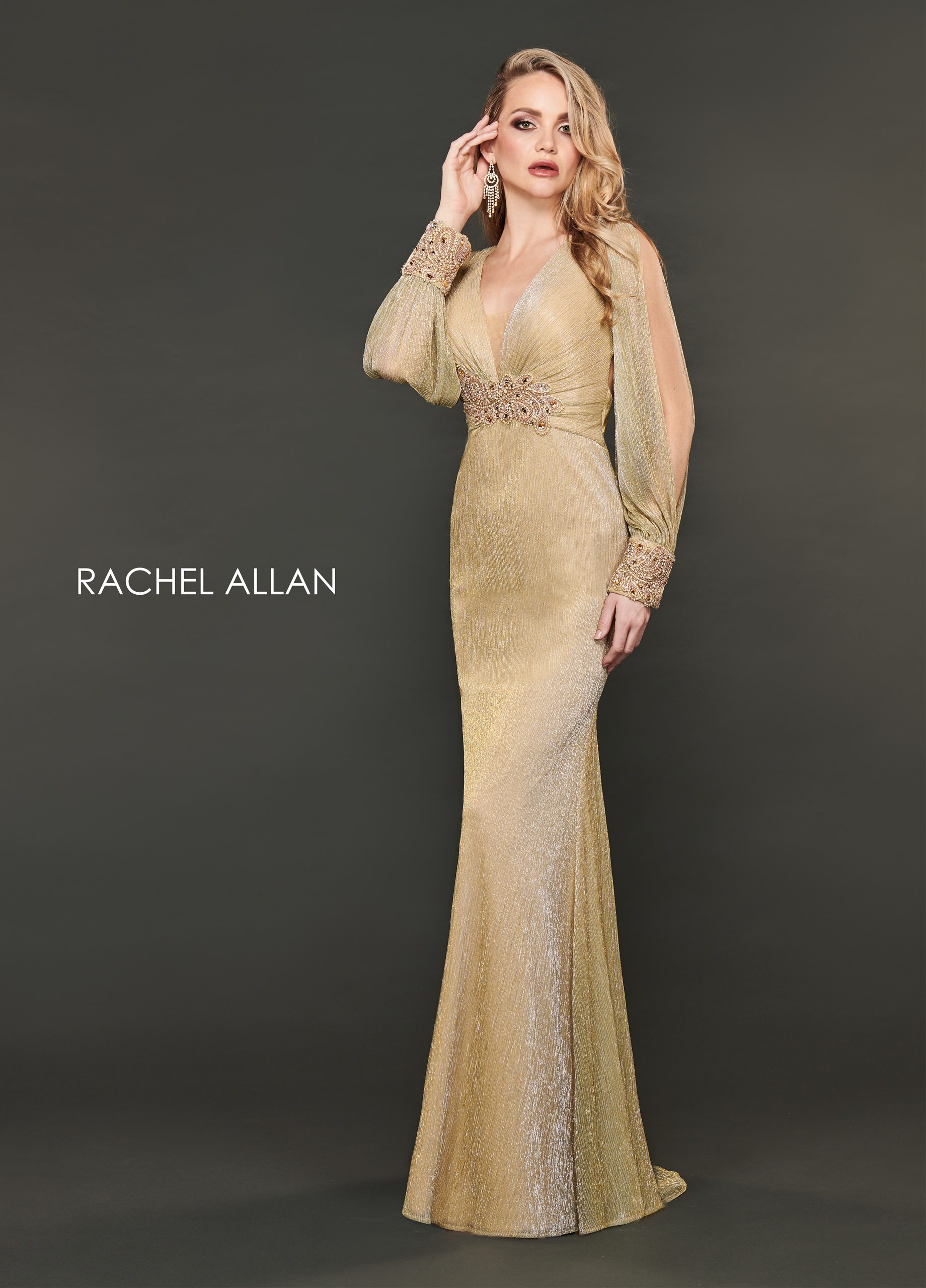 V-Neck Fitted Long Couture Dresses in Gold Color