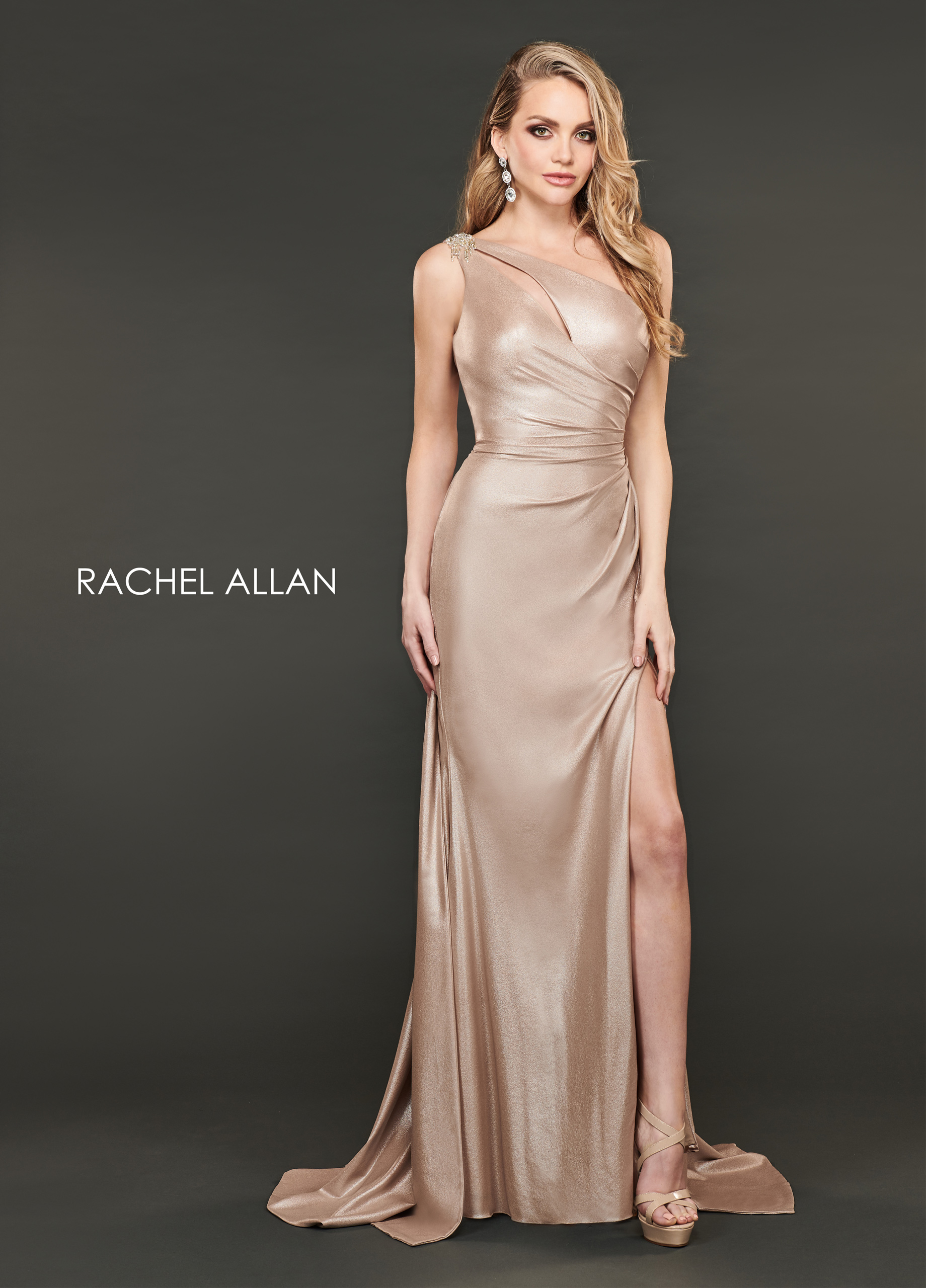 One Shoulder A-Line Couture Dresses in Champagne Color