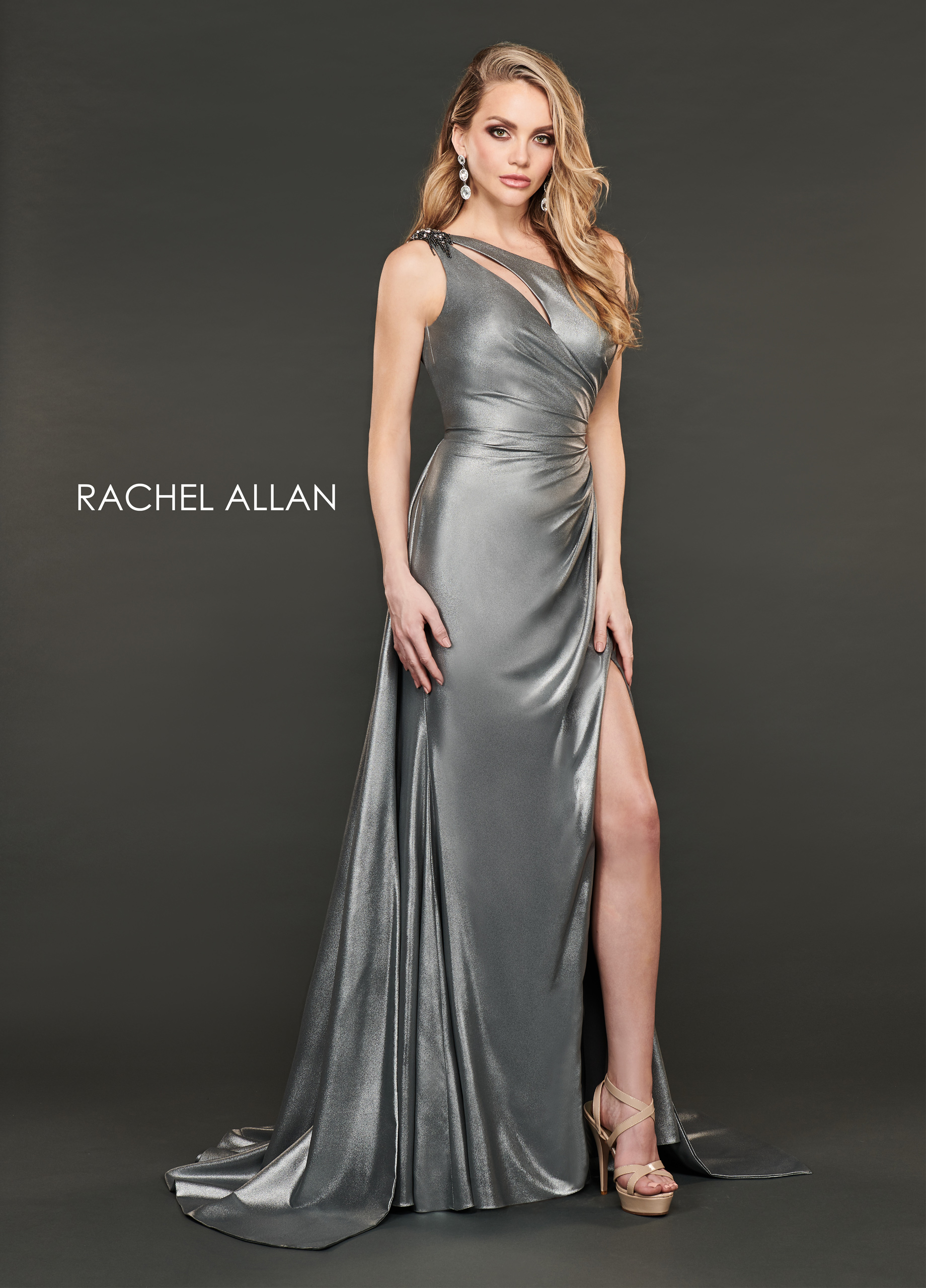 One Shoulder A-Line Couture Dresses in Gunmetal Color