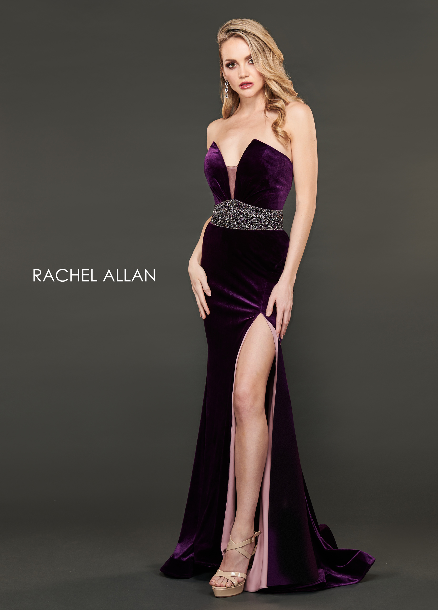 Strapless Fit & Flare Couture Dresses in Purple Color