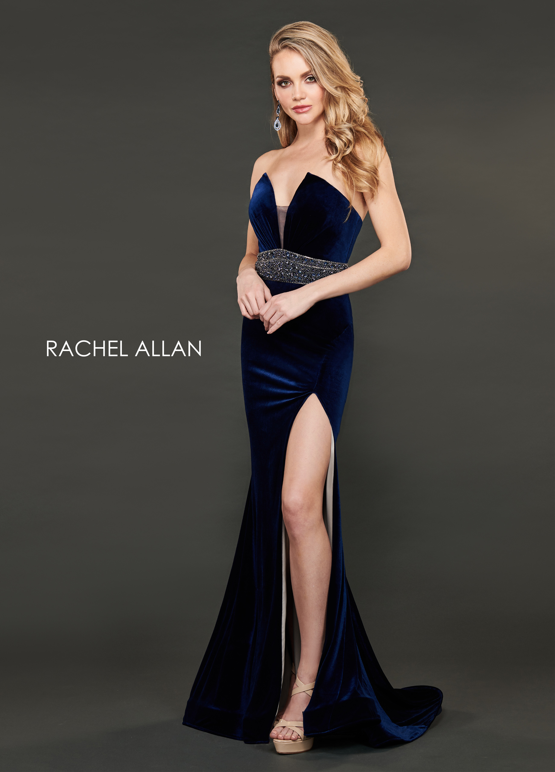 Strapless Fit & Flare Couture Dresses in Navy Color