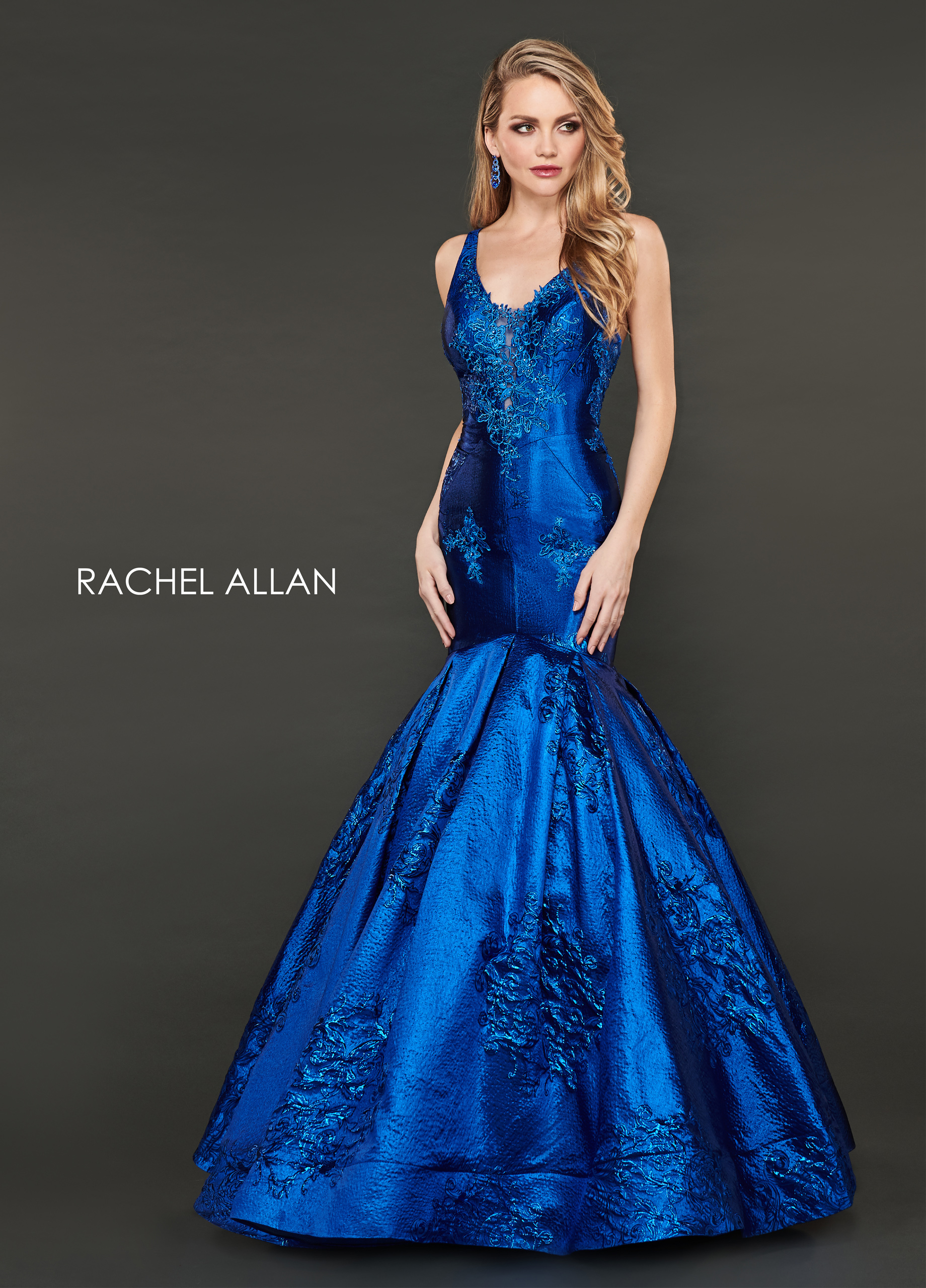 V-Neck Mermaid Couture Dresses in Royal Color