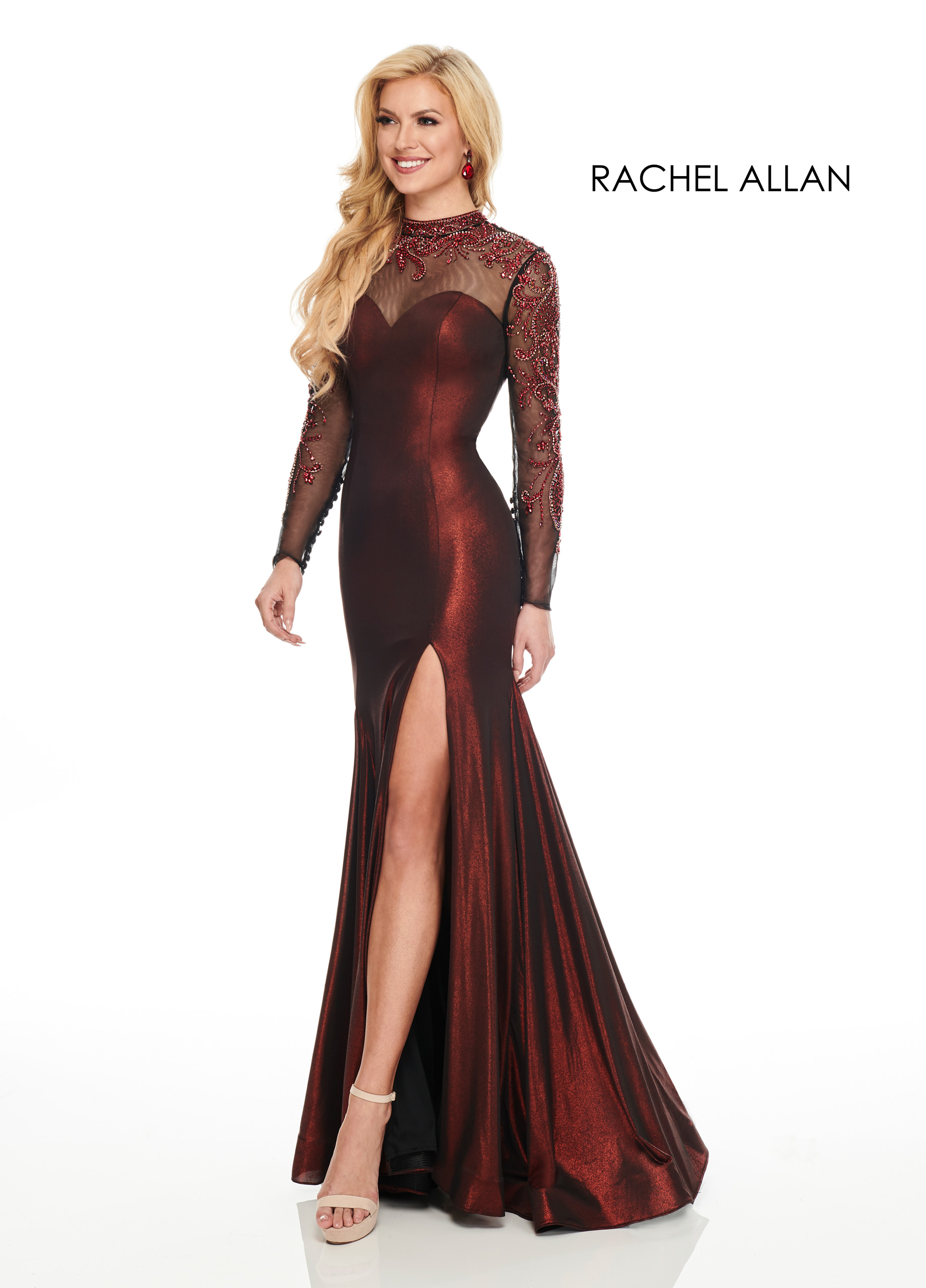 High Neckline Fitted Long Couture Dresses in Red Color