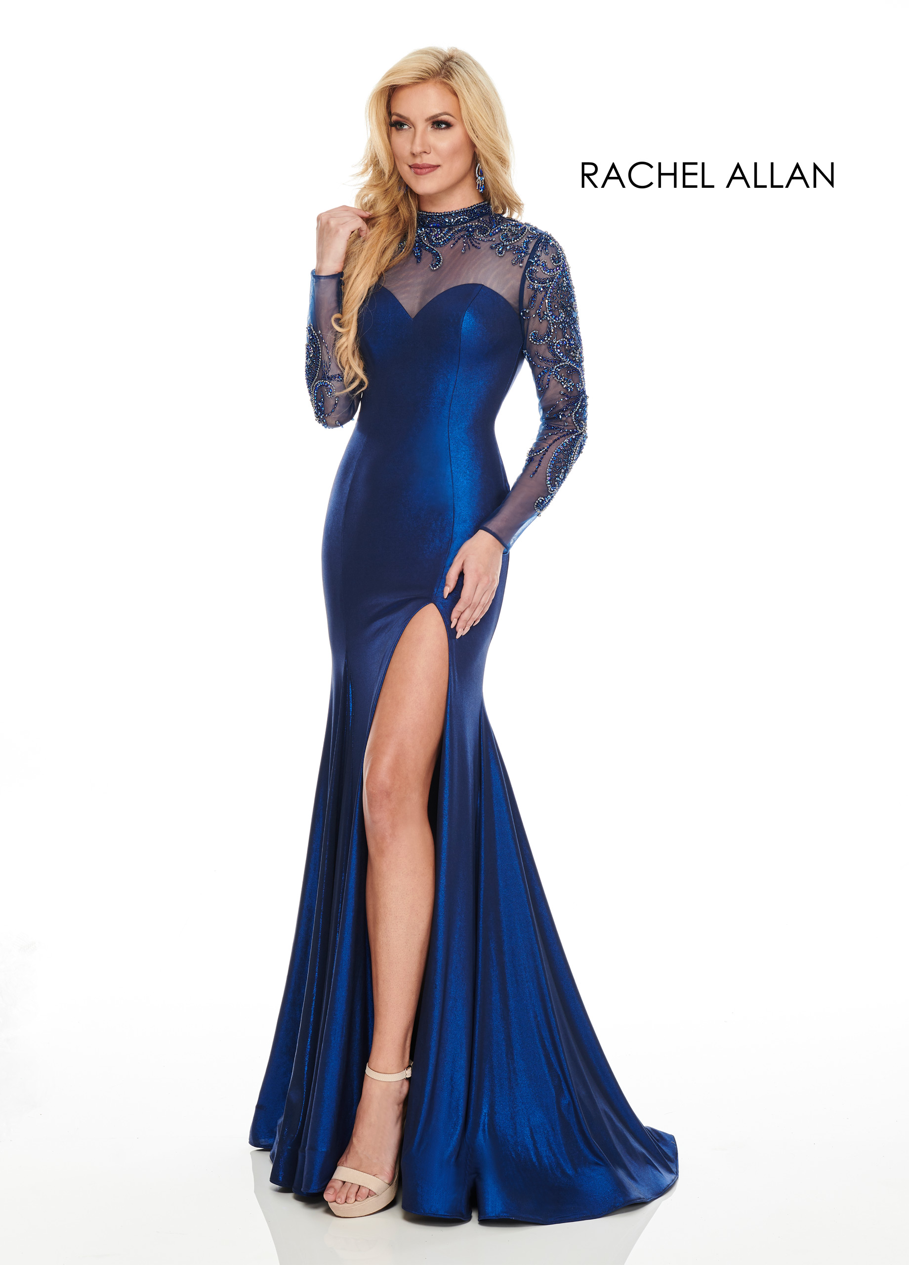 High Neckline Fitted Long Couture Dresses in Royal Color