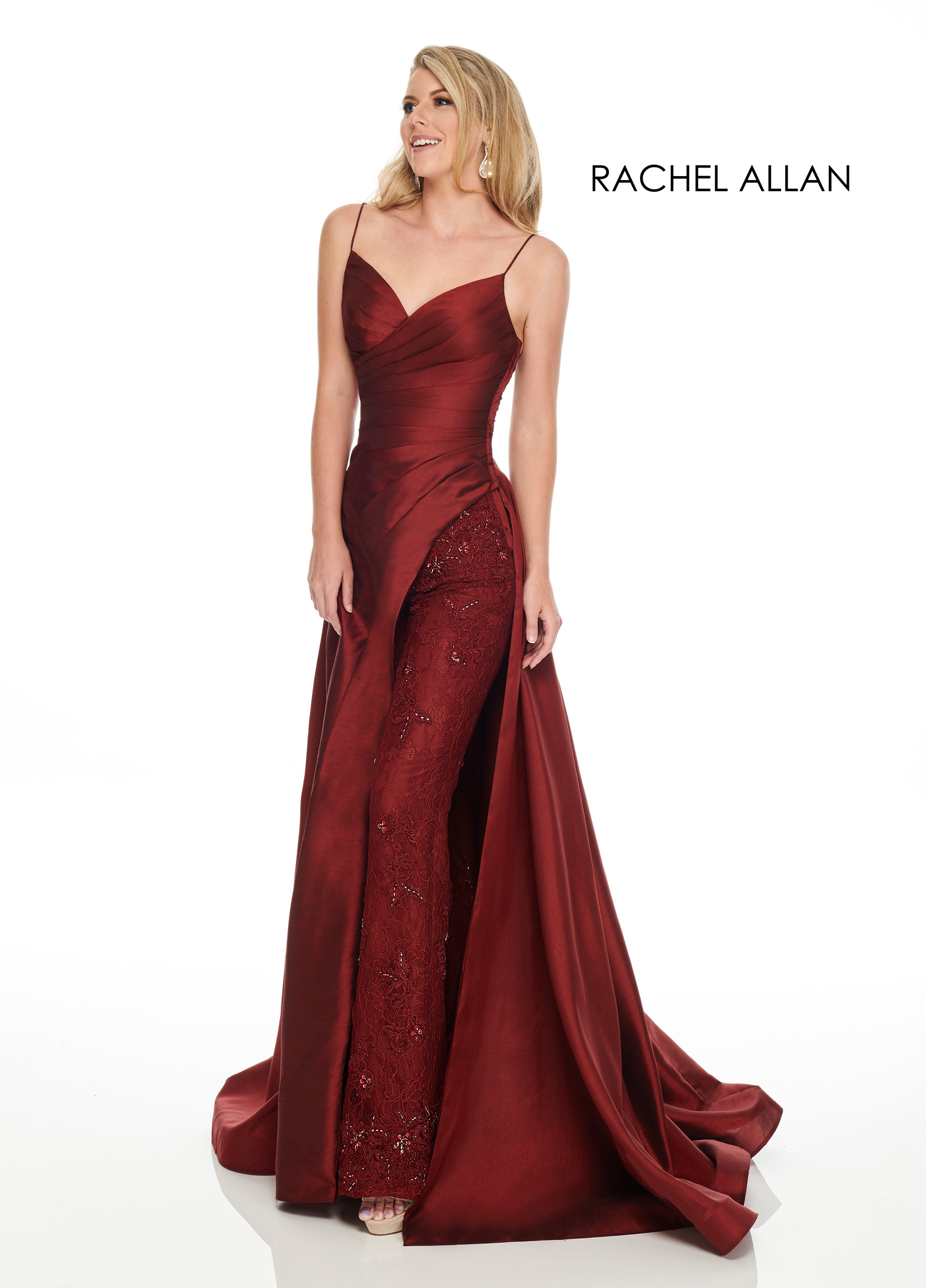 Strappy Skirt With Overlay Couture Dresses in Red Color