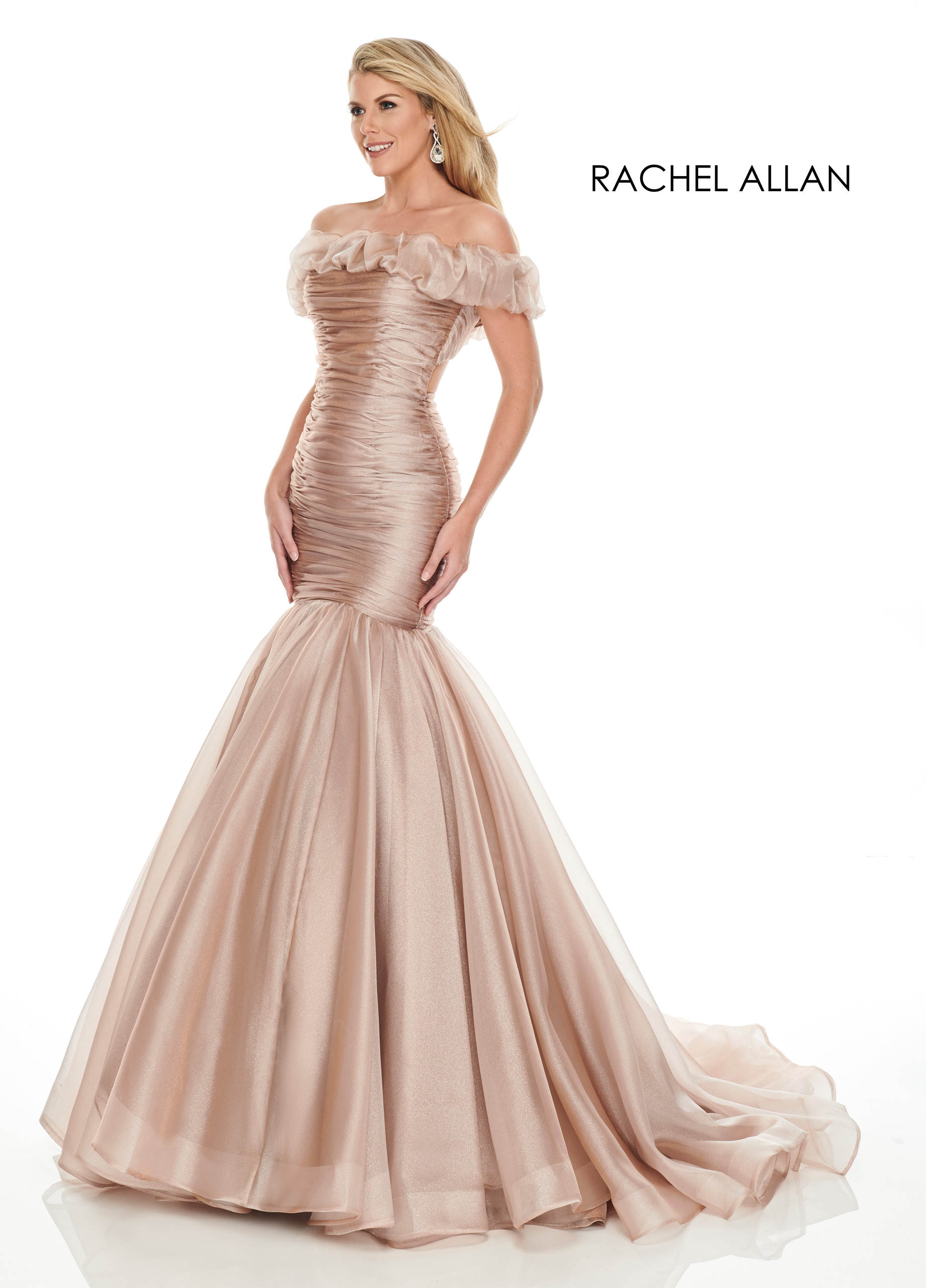 Off The Shoulder Drop Waist Couture Dresses in Champagne Color