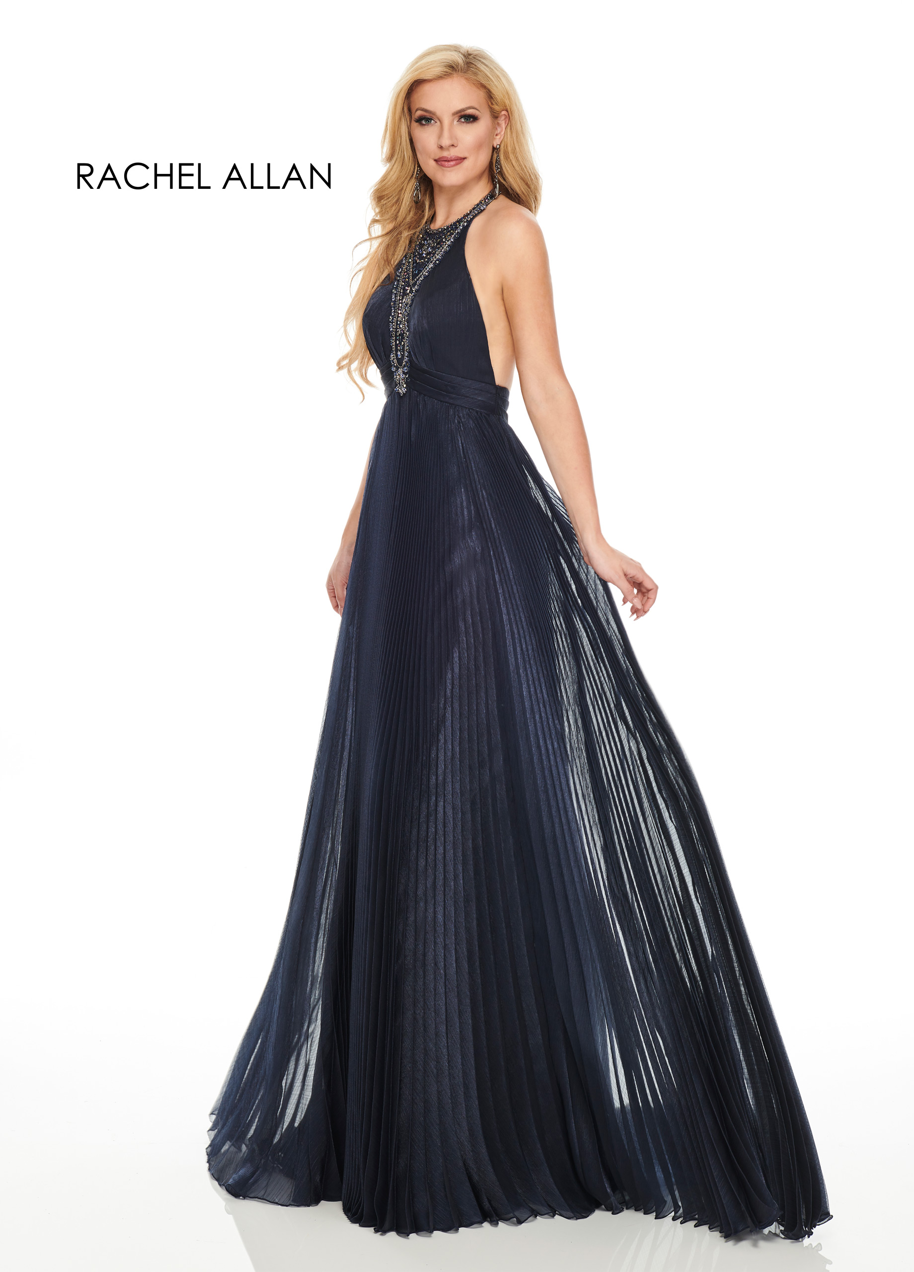 Halter A-Line Couture Dresses in Navy Color
