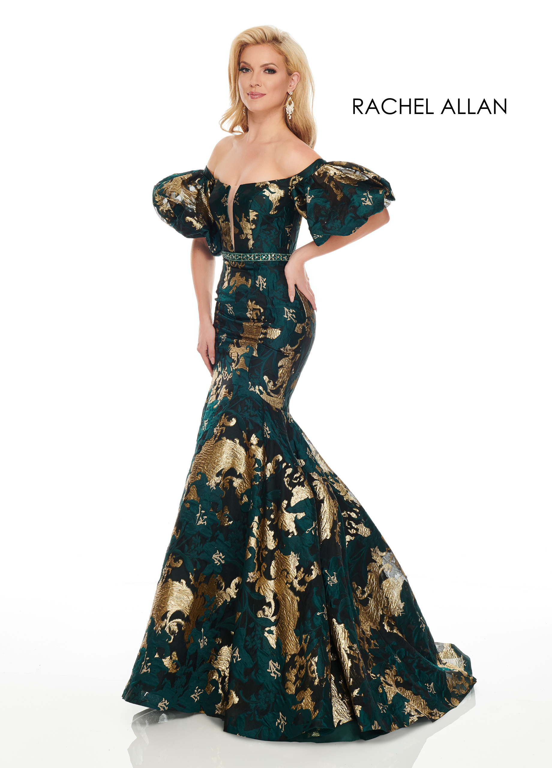Off The Shoulder Mermaid Couture Dresses in Emerald Color