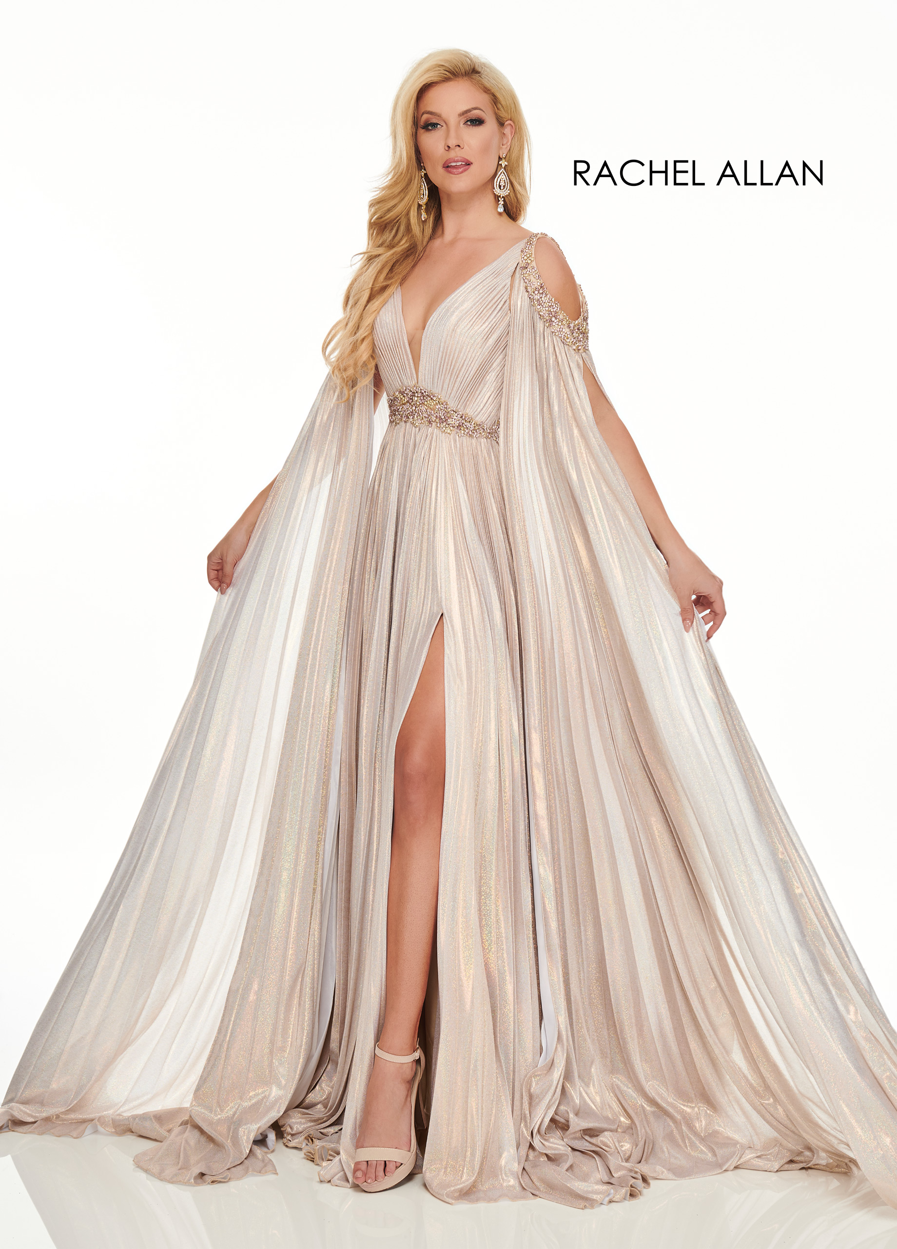 V-Neck A-Line Couture Dresses in Champagne Color