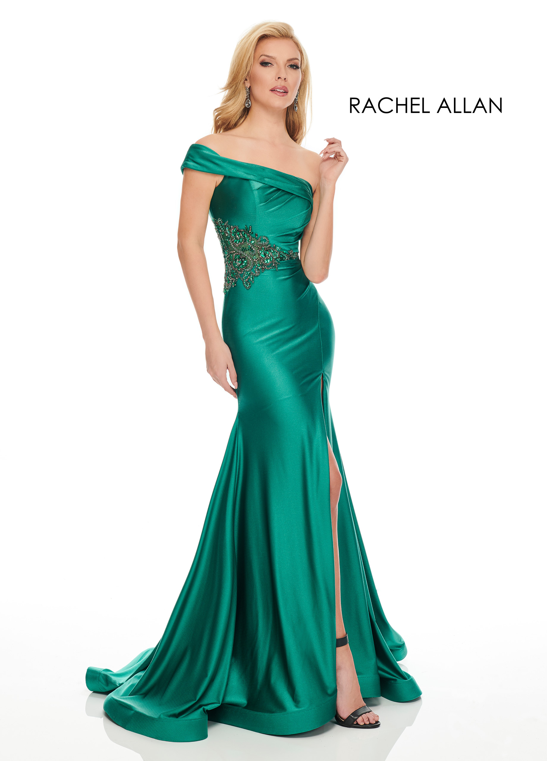 One Shoulder Fitted Long Couture Dresses in Emerald Color