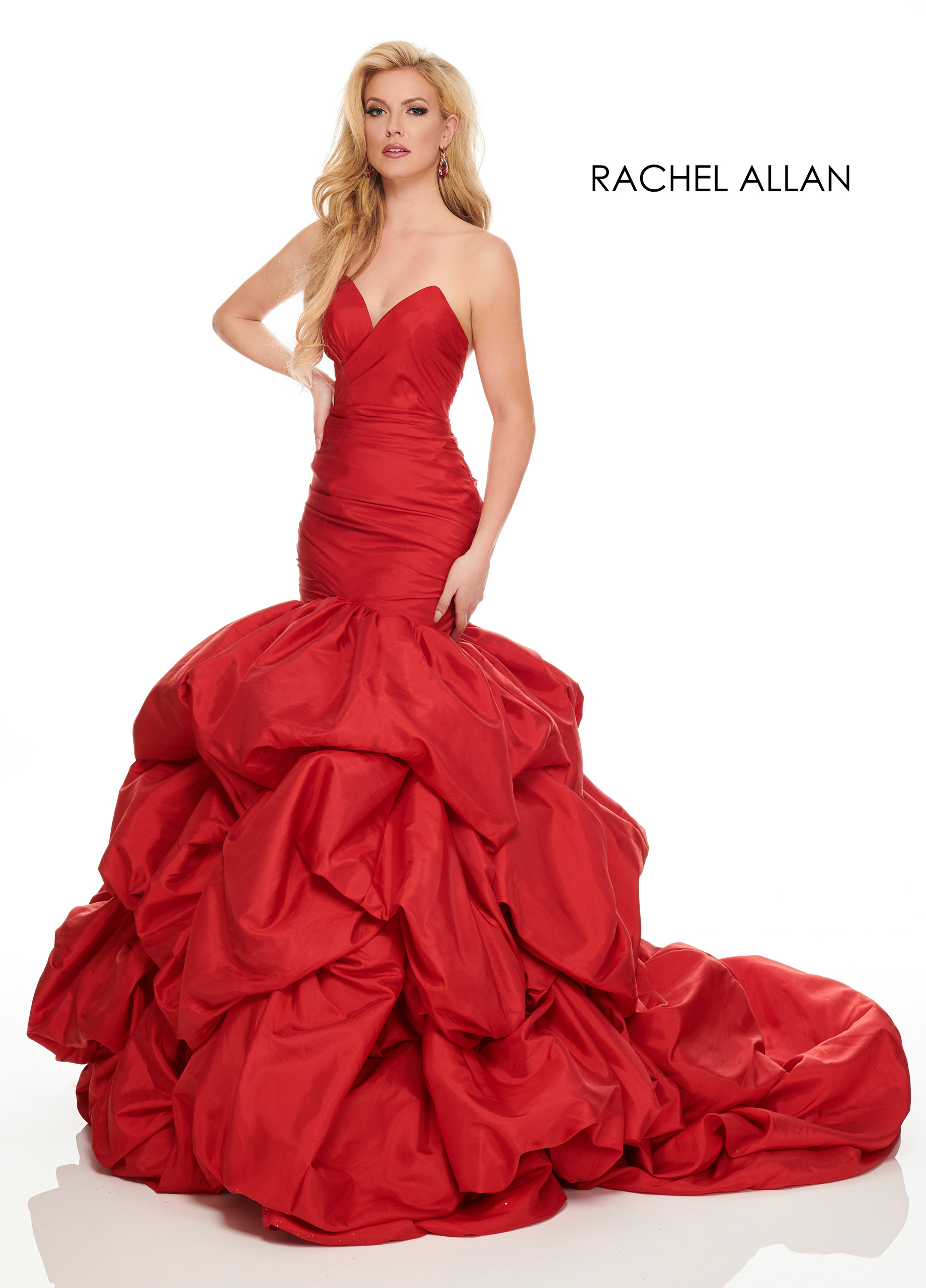 Strappy Drop Waist Couture Dresses in Red Color