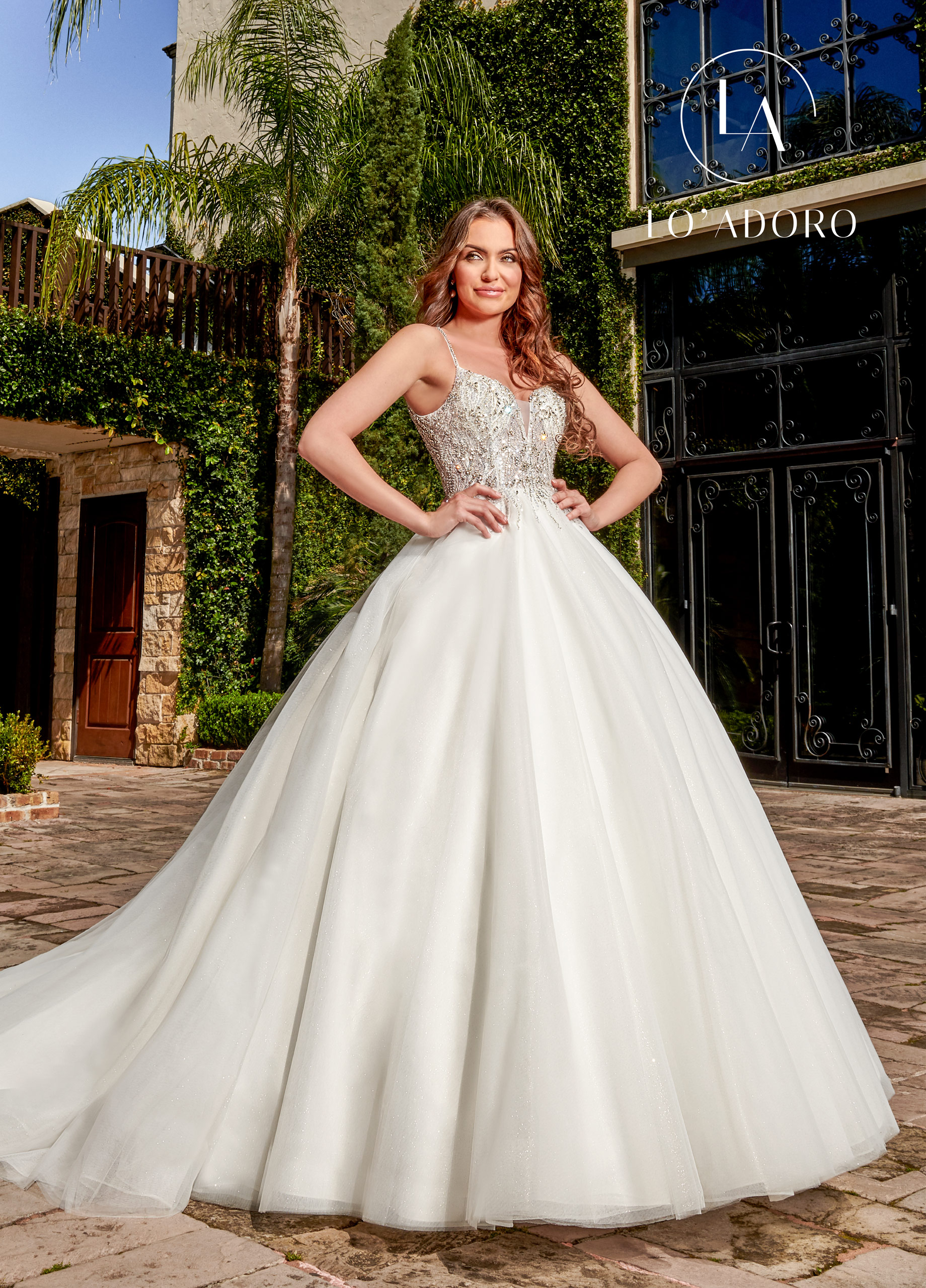Strappy Ball Gowns Lo' Adoro Bridal in Ivory Color