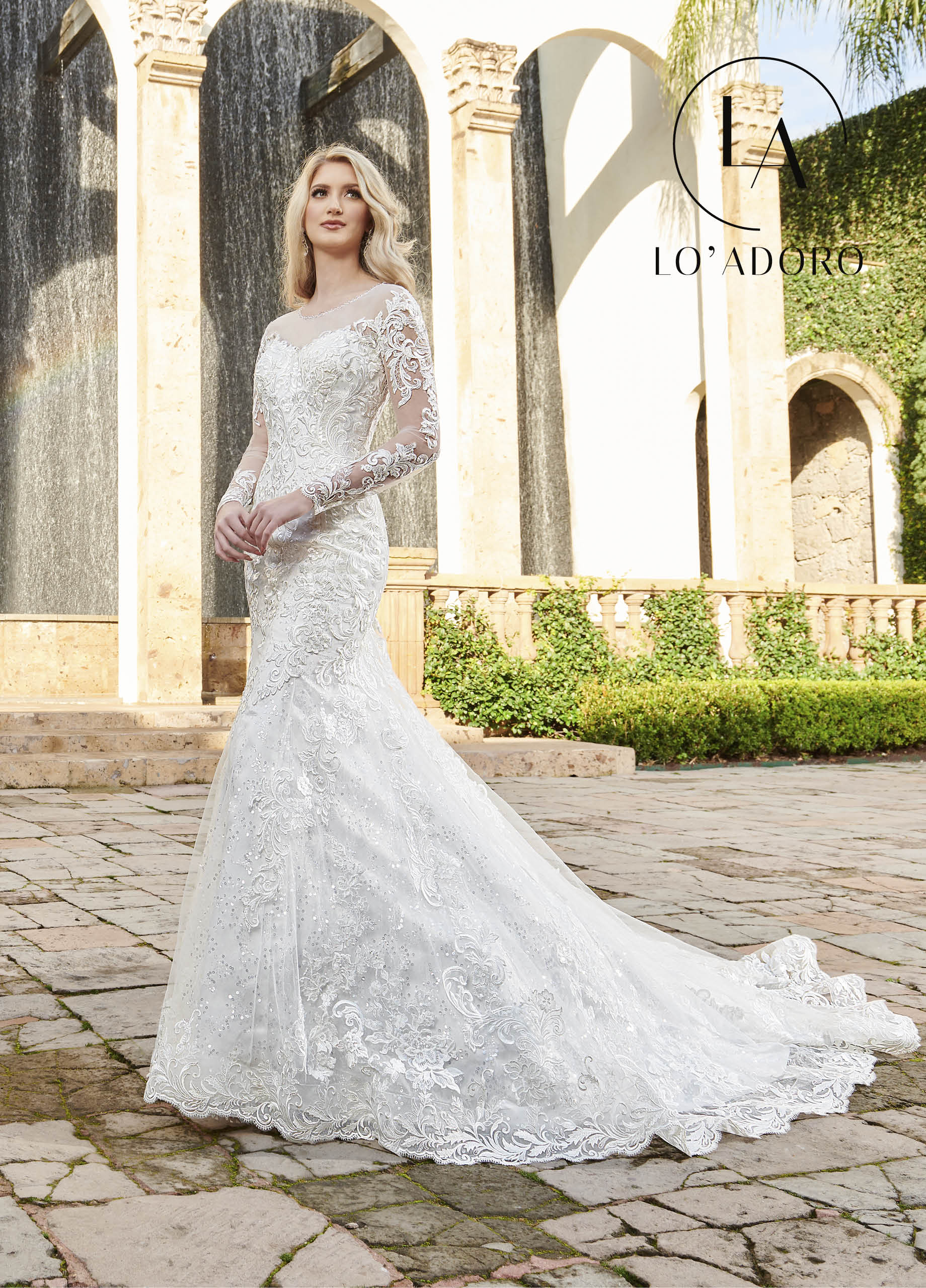 Off The Shoulder Fit & Flare Lo' Adoro Bridal in Ivory Color