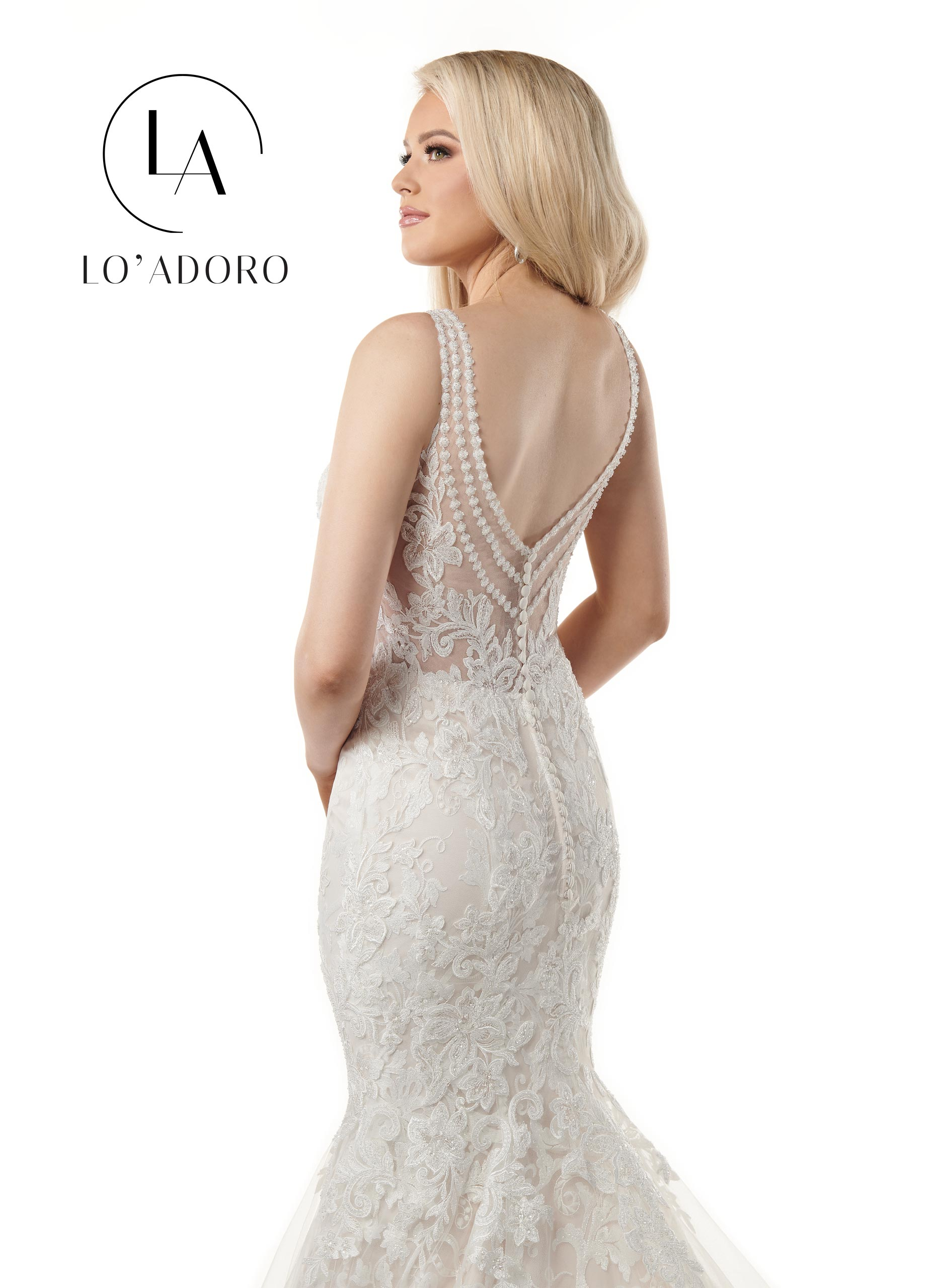 V-Neck Mermaid Lo' Adoro Bridal in White Color
