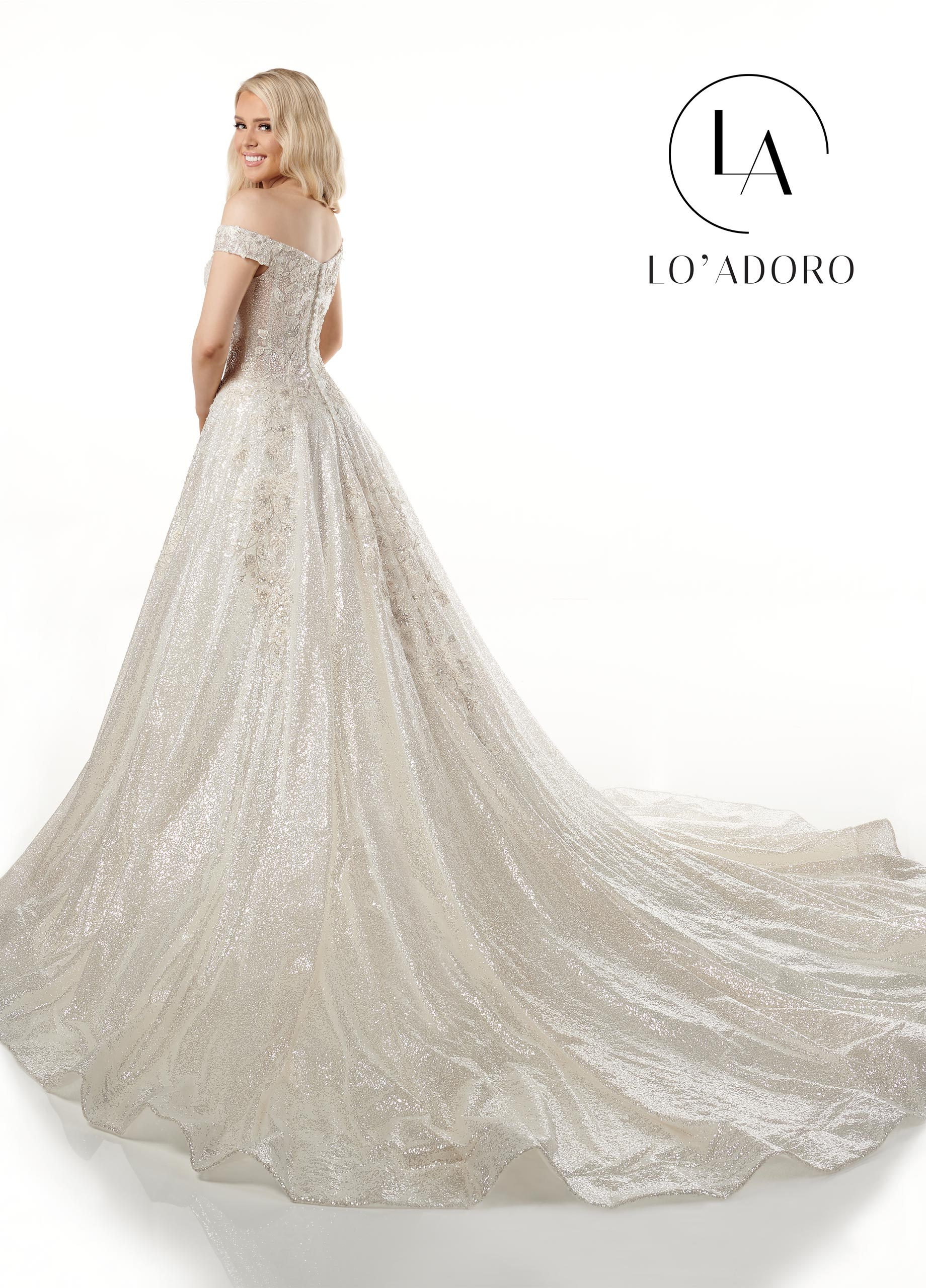 Off The Shoulder A-Line Lo' Adoro Bridal in White Color