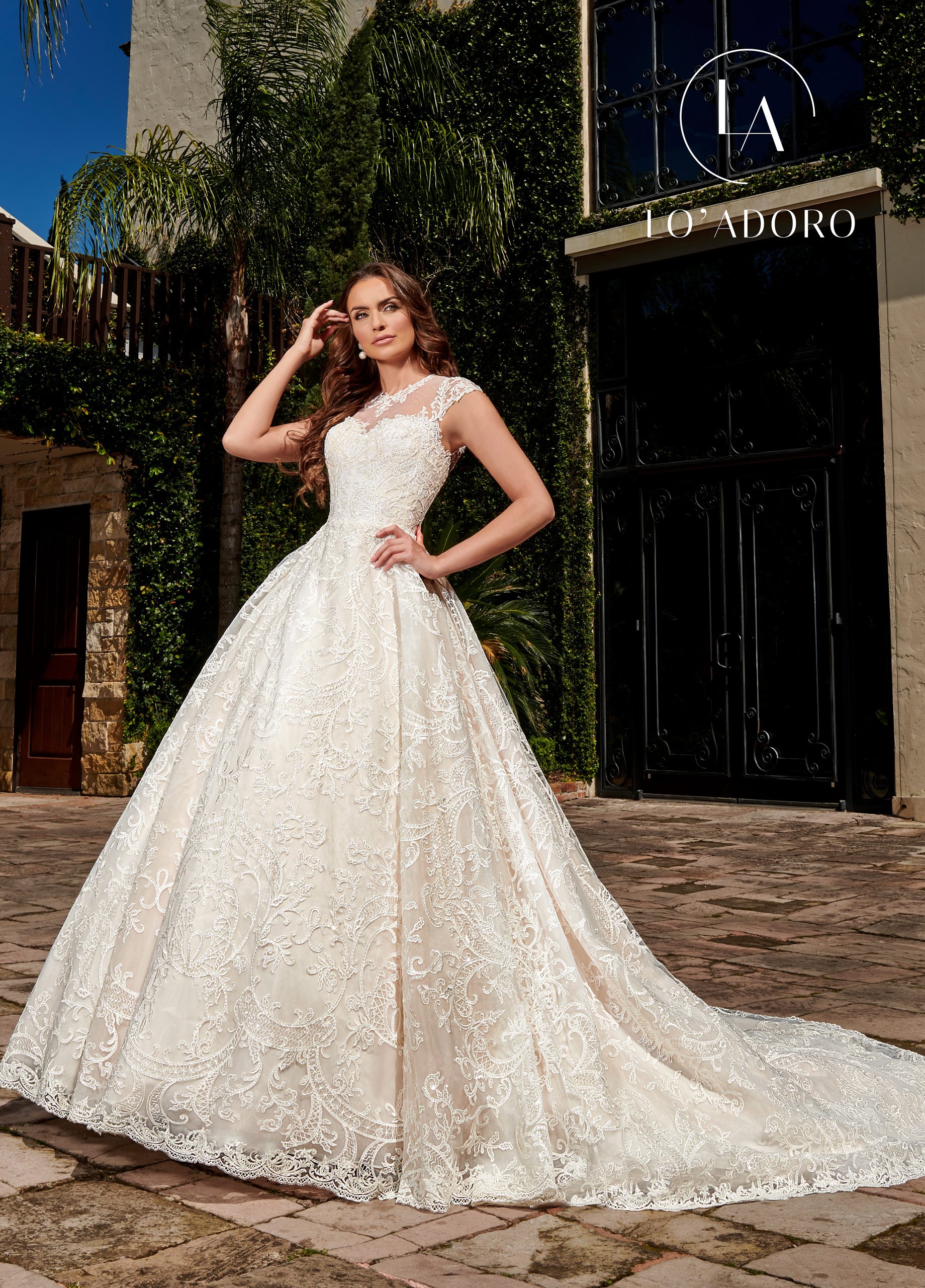 Lace A-Line Lo' Adoro Bridal in White Color