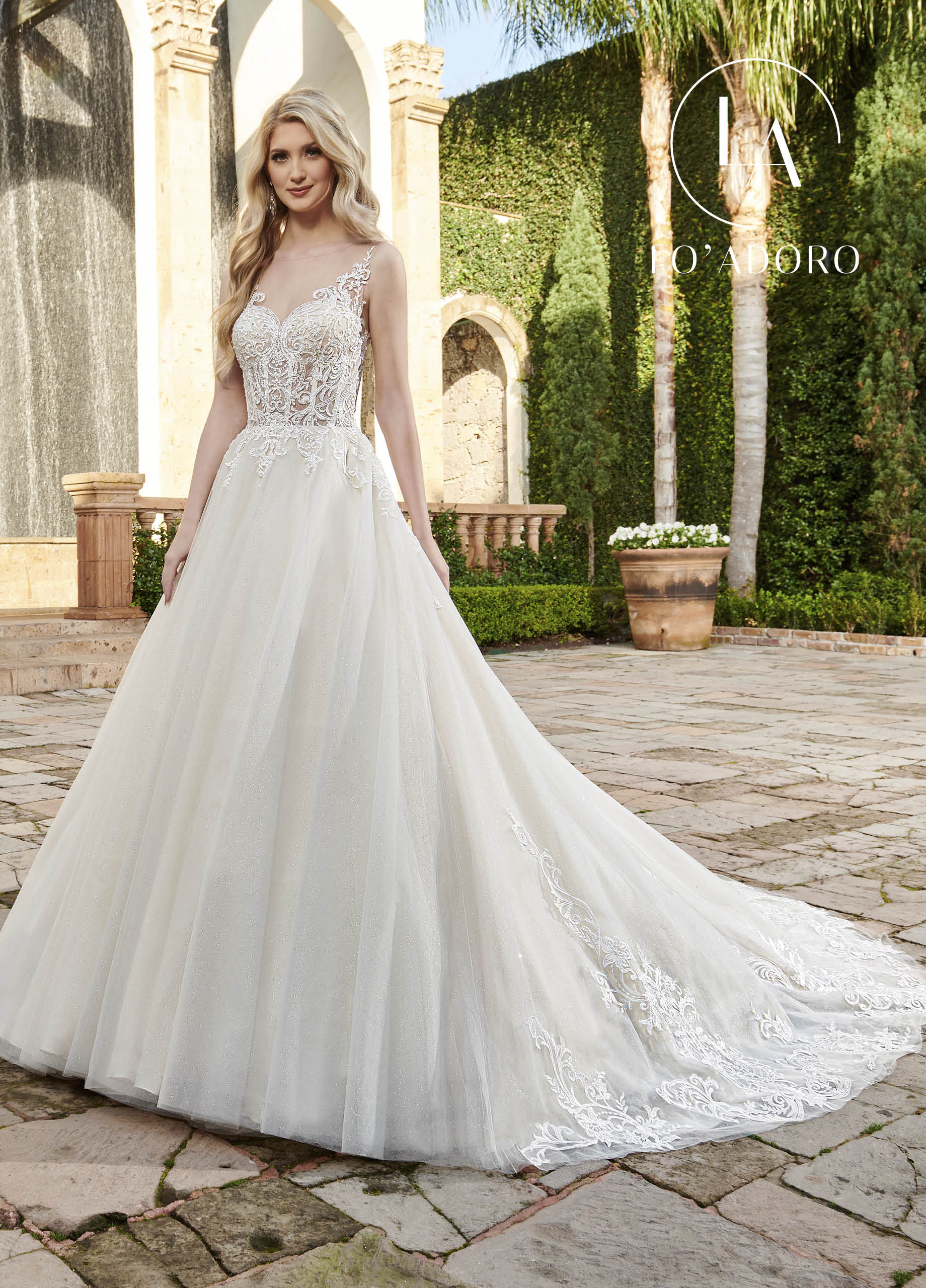 Sheer A-Line Lo' Adoro Bridal in Ivory Color