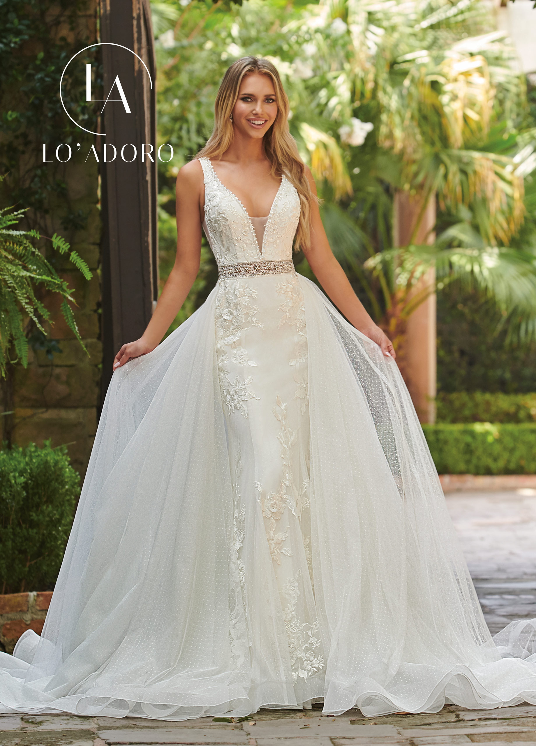 V-Neck Fit & Flare Lo' Adoro Bridal in Ivory Color