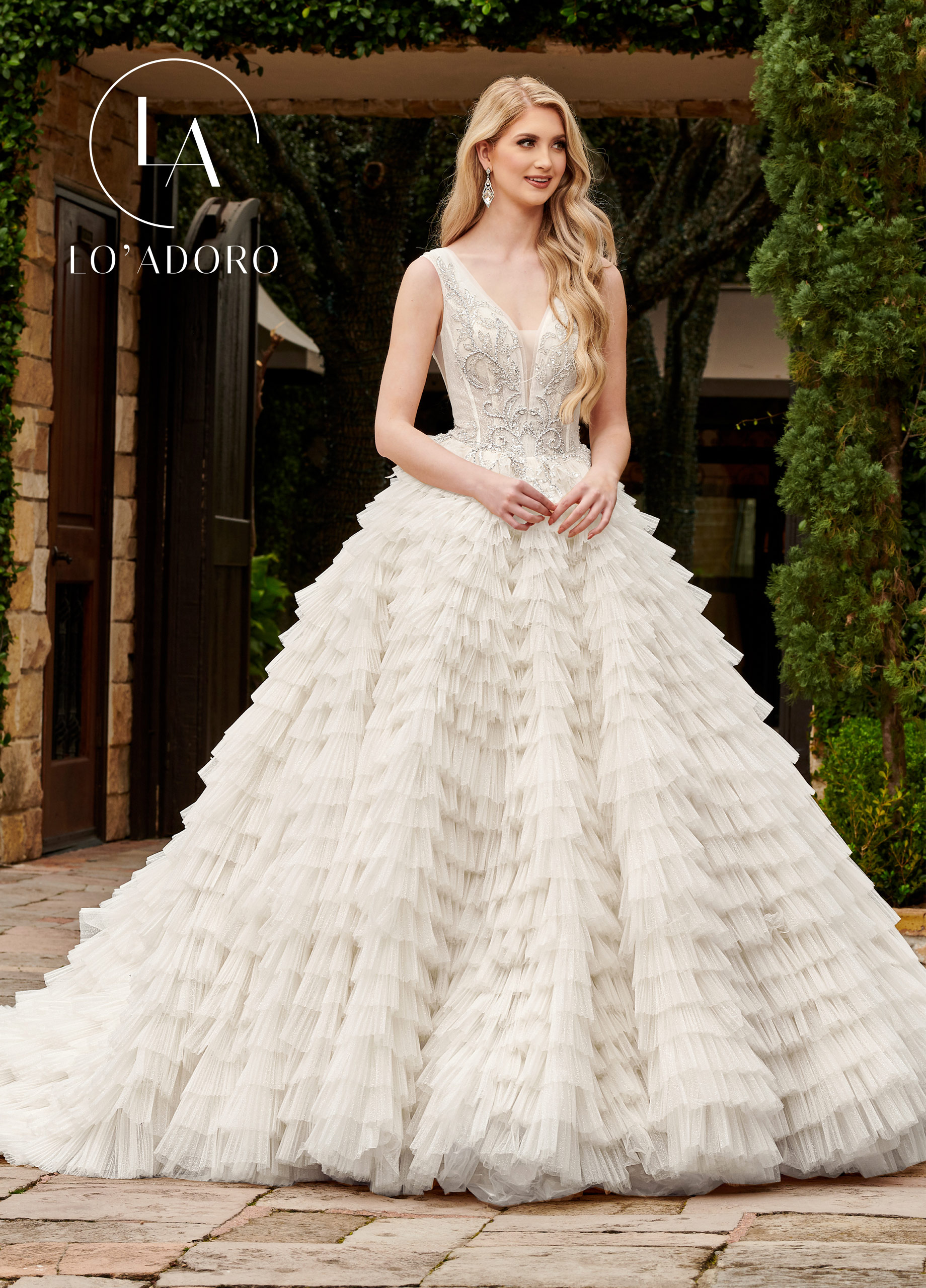 V-Neck Ball Gowns Lo' Adoro Bridal in Ivory Color