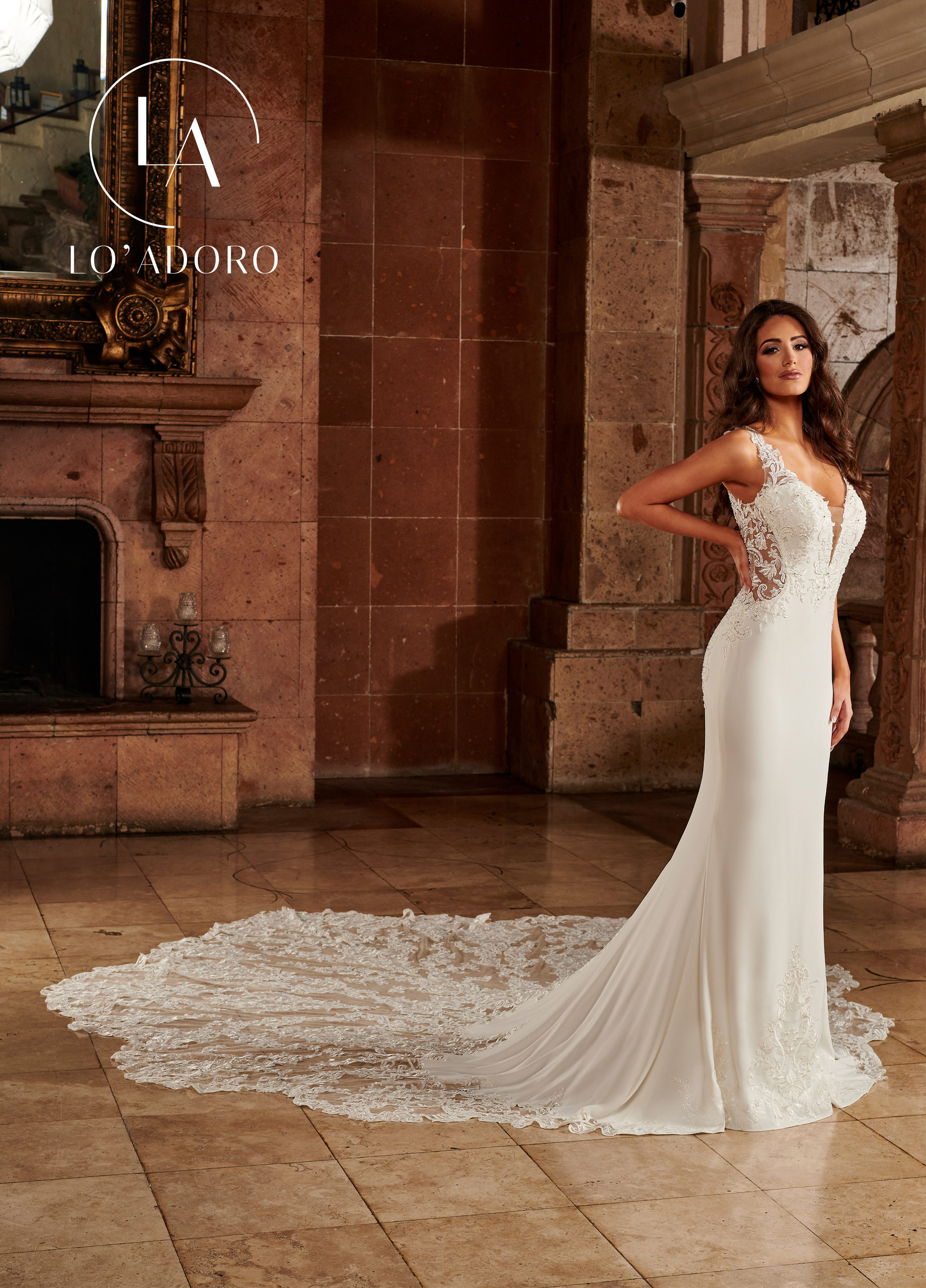 Strappy Fit & Flare Lo' Adoro Bridal in Ivory Color
