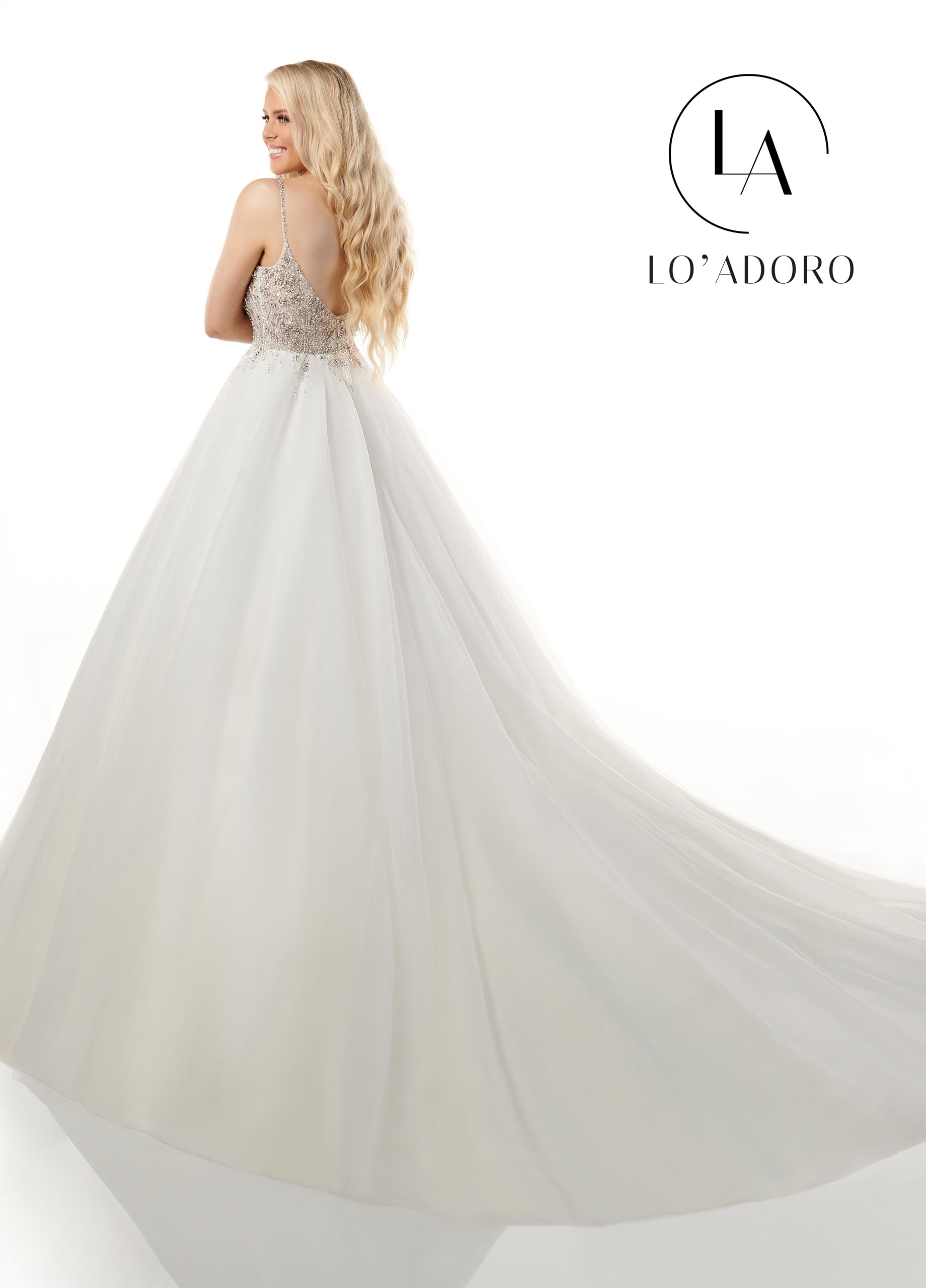 Strappy Ball Gowns Lo' Adoro Bridal in White Color
