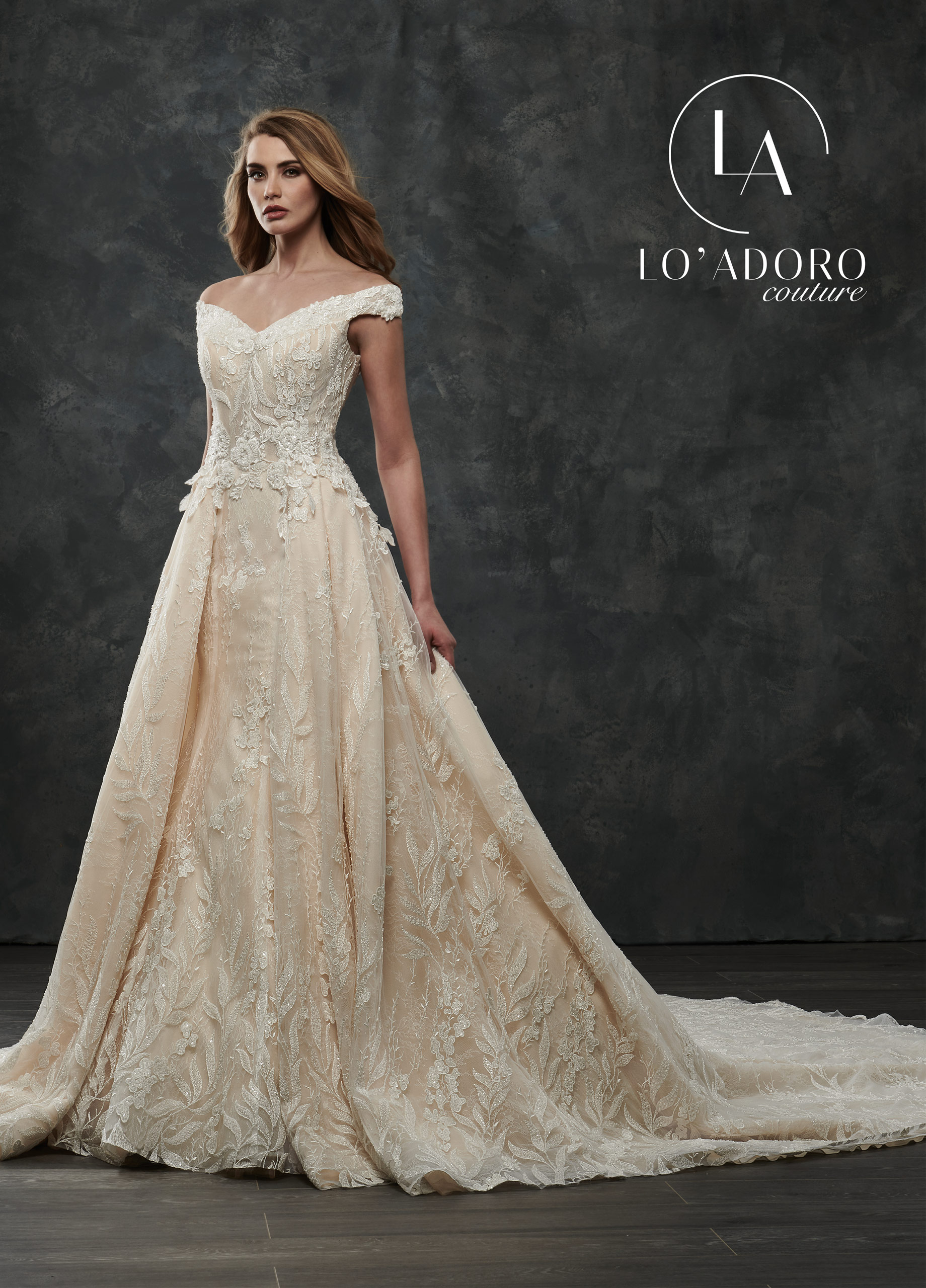 Off The Shoulder A-Line Lo' Adoro Couture BRIDAL in Nude Color