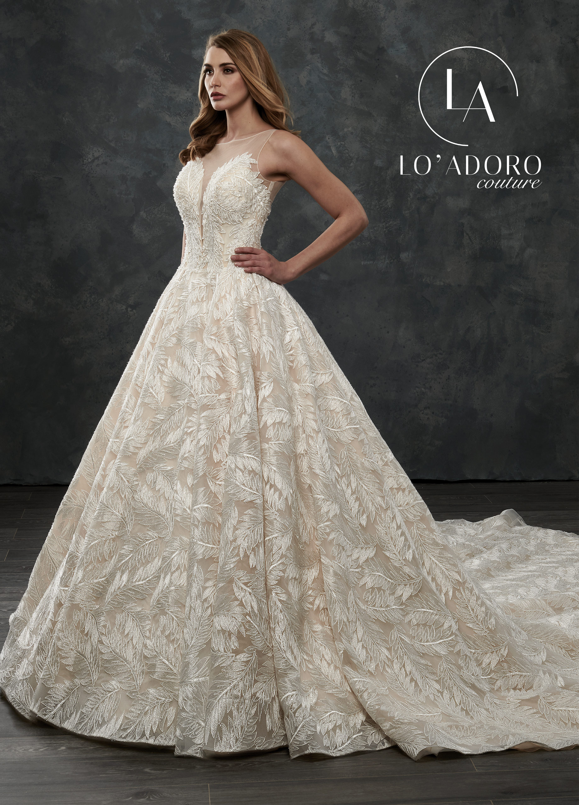 High Neckline Ball Gowns Lo' Adoro Couture BRIDAL in Nude Color