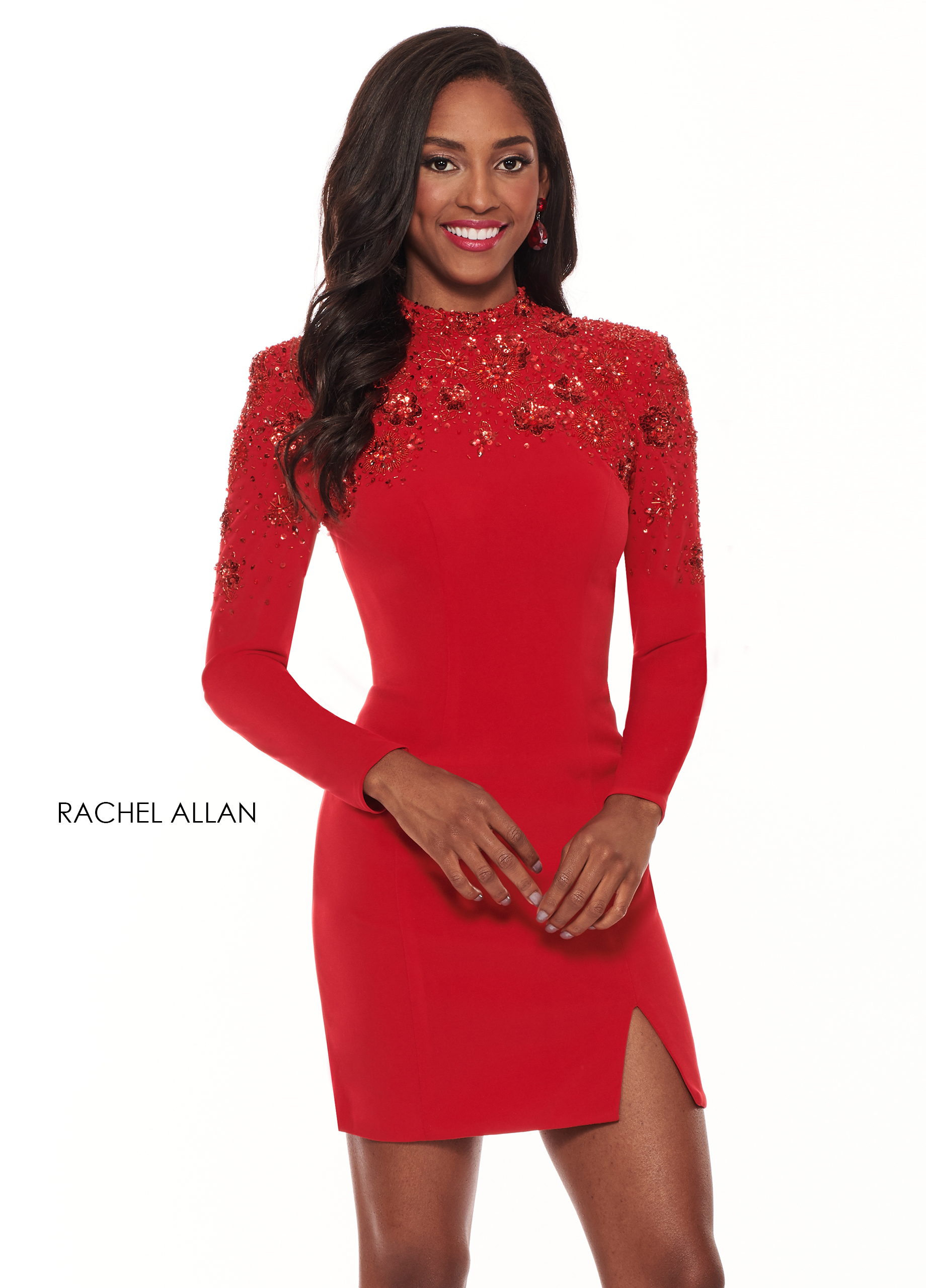 High Neckline Fitted Mini Cocktail Dresses in Red Color