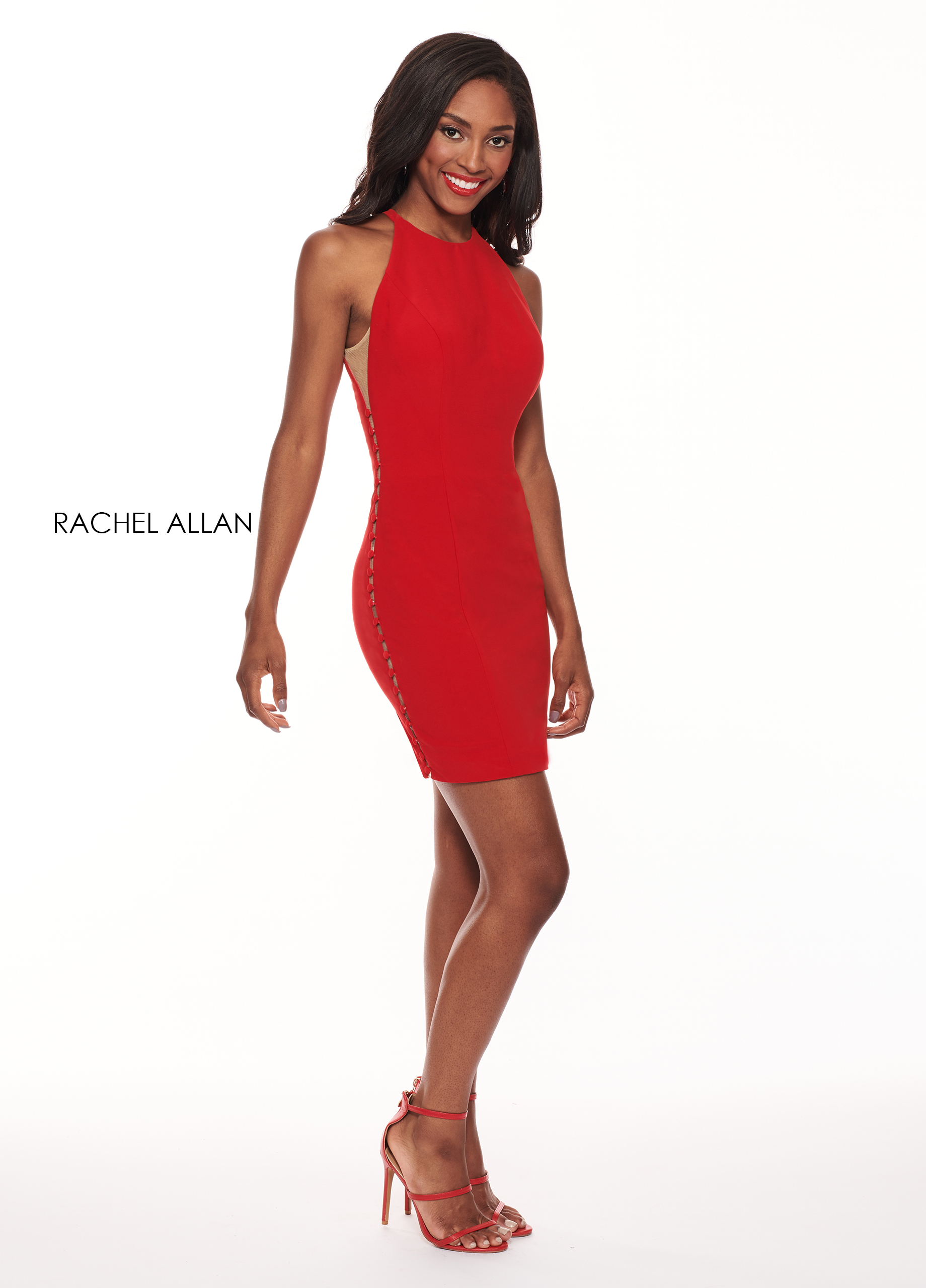 Halter Fitted Mini Cocktail Dresses in Red Color