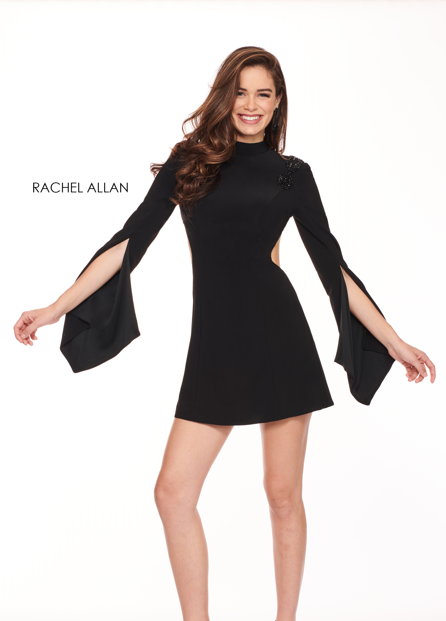 High Neckline Full Skirt Mini Cocktail Dresses in Black Color