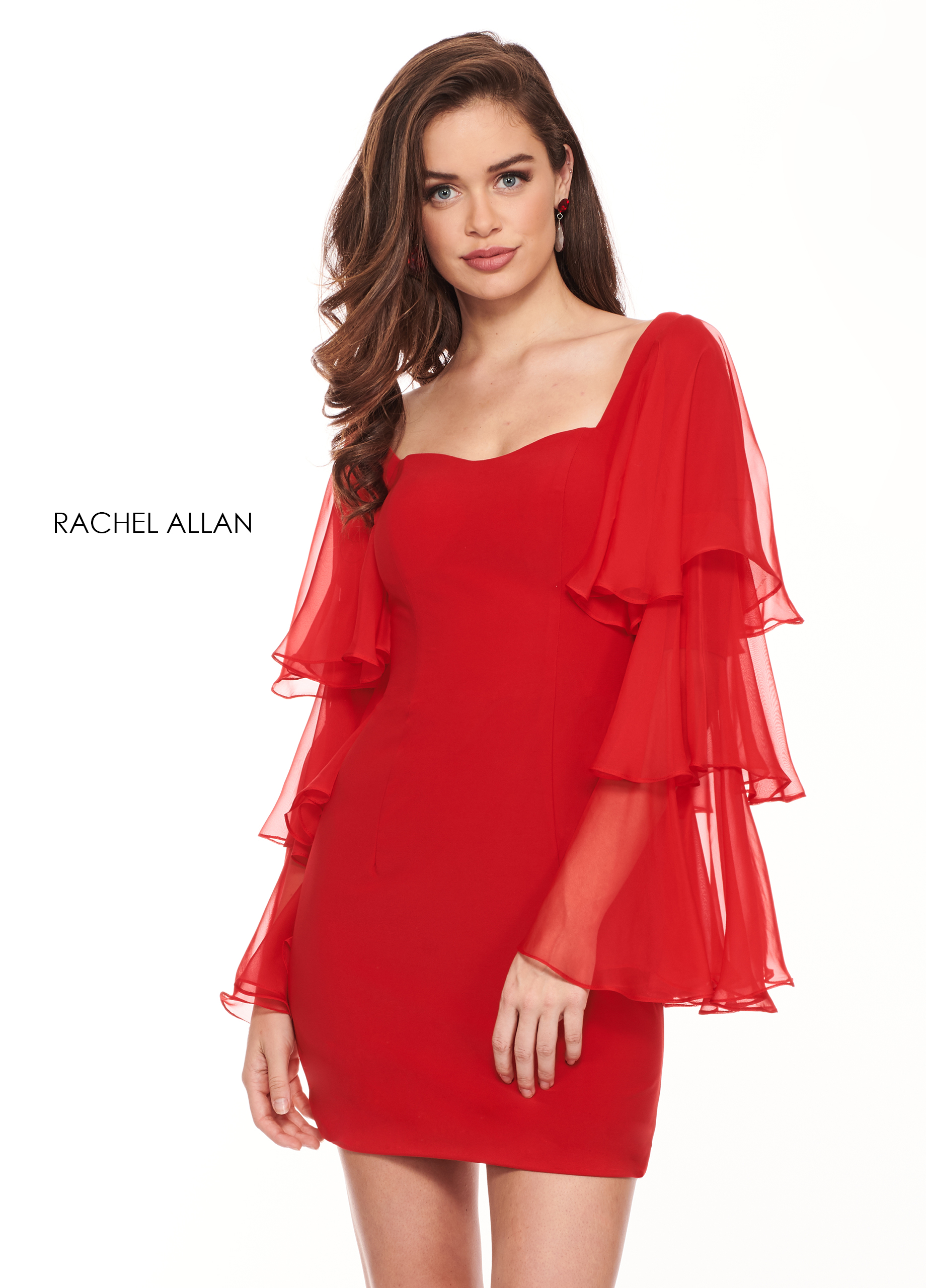 Square Fitted Mini Cocktail Dresses in Red Color